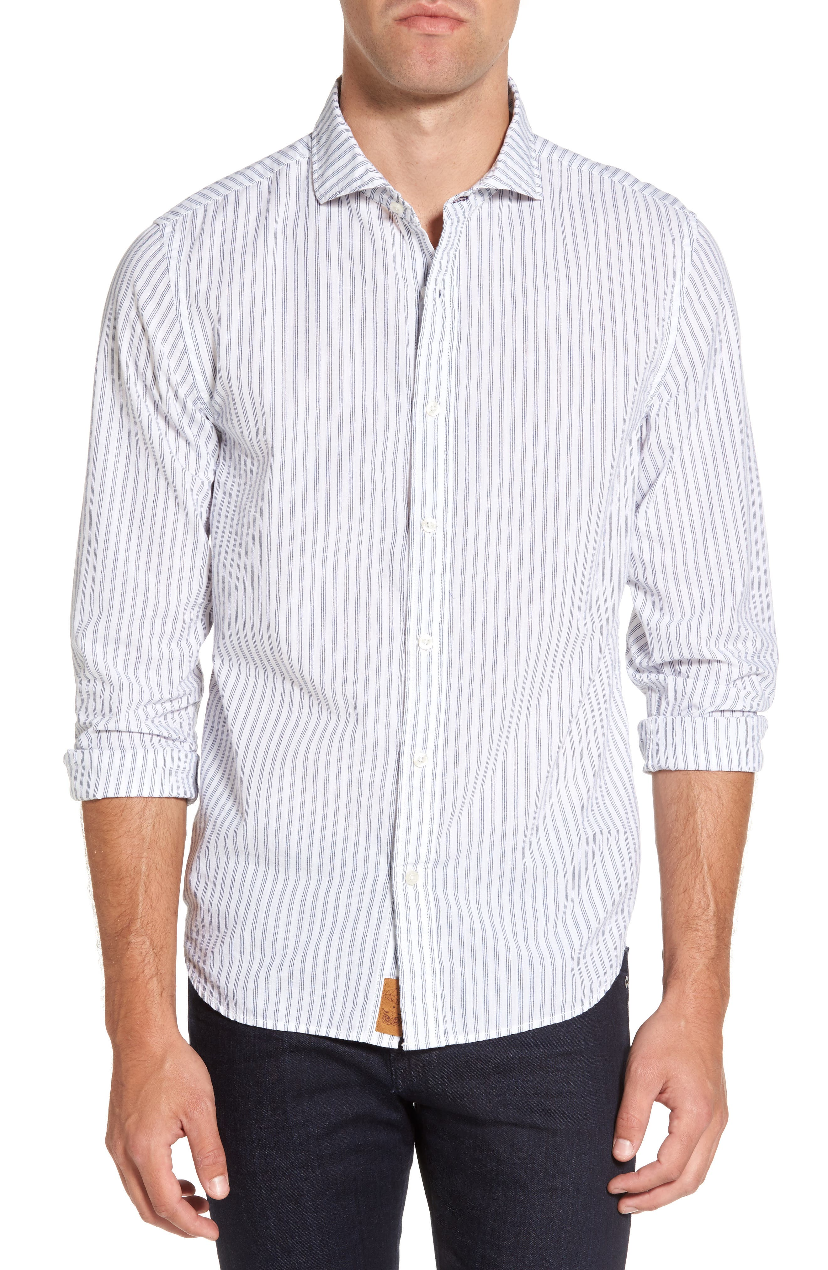 Alternate Image 1 Selected - Nifty Genius Earnest Stripe Sport Shirt