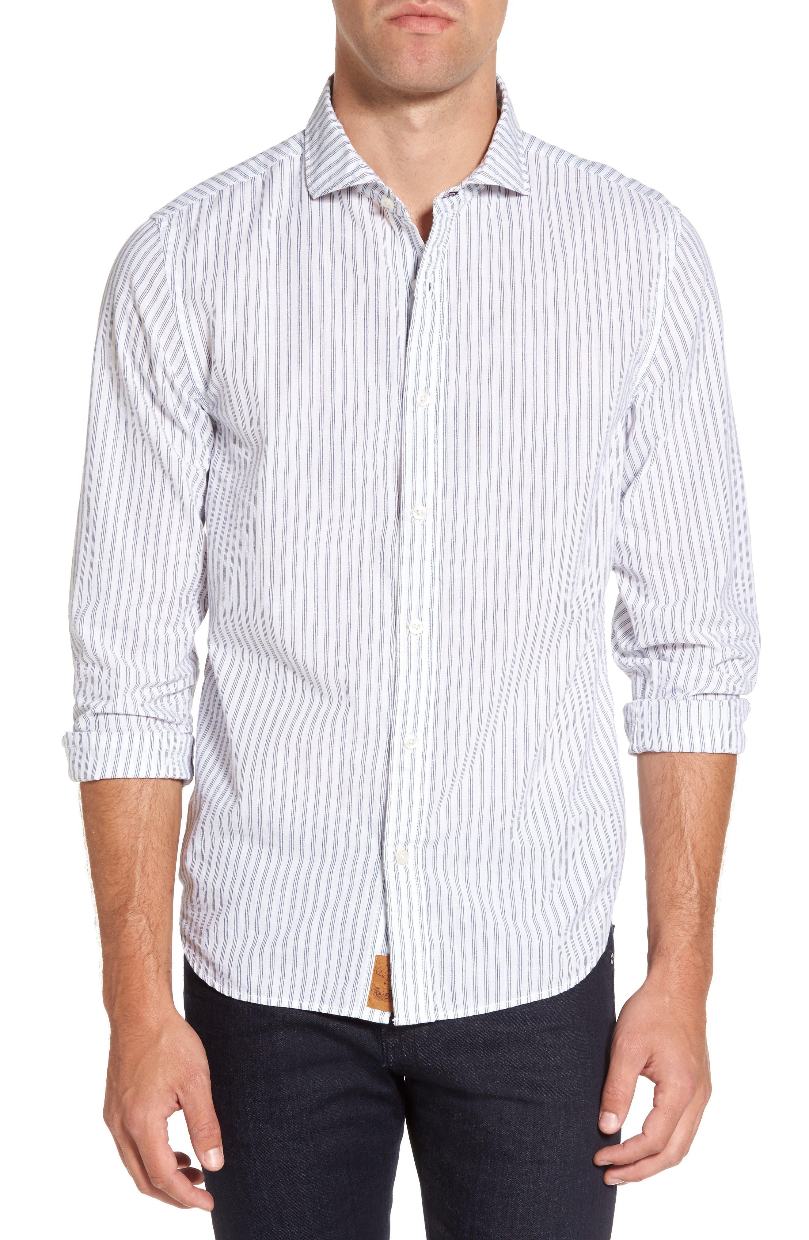 Main Image - Nifty Genius Earnest Stripe Sport Shirt