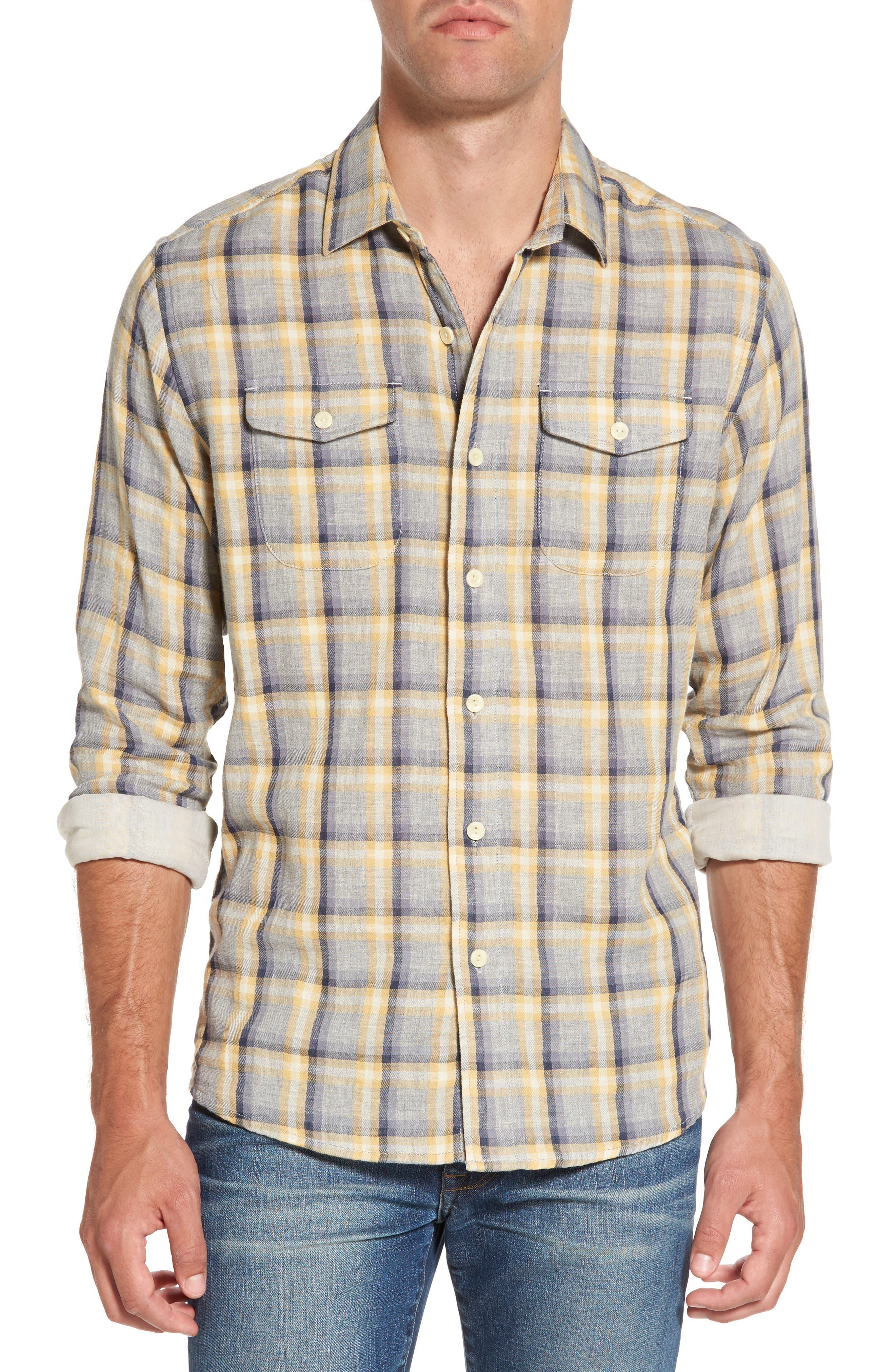 Sheldon Modern Fit Double Cloth Windowpane Sport Shirt,                         Main,                         color, Yellow Stone Gray