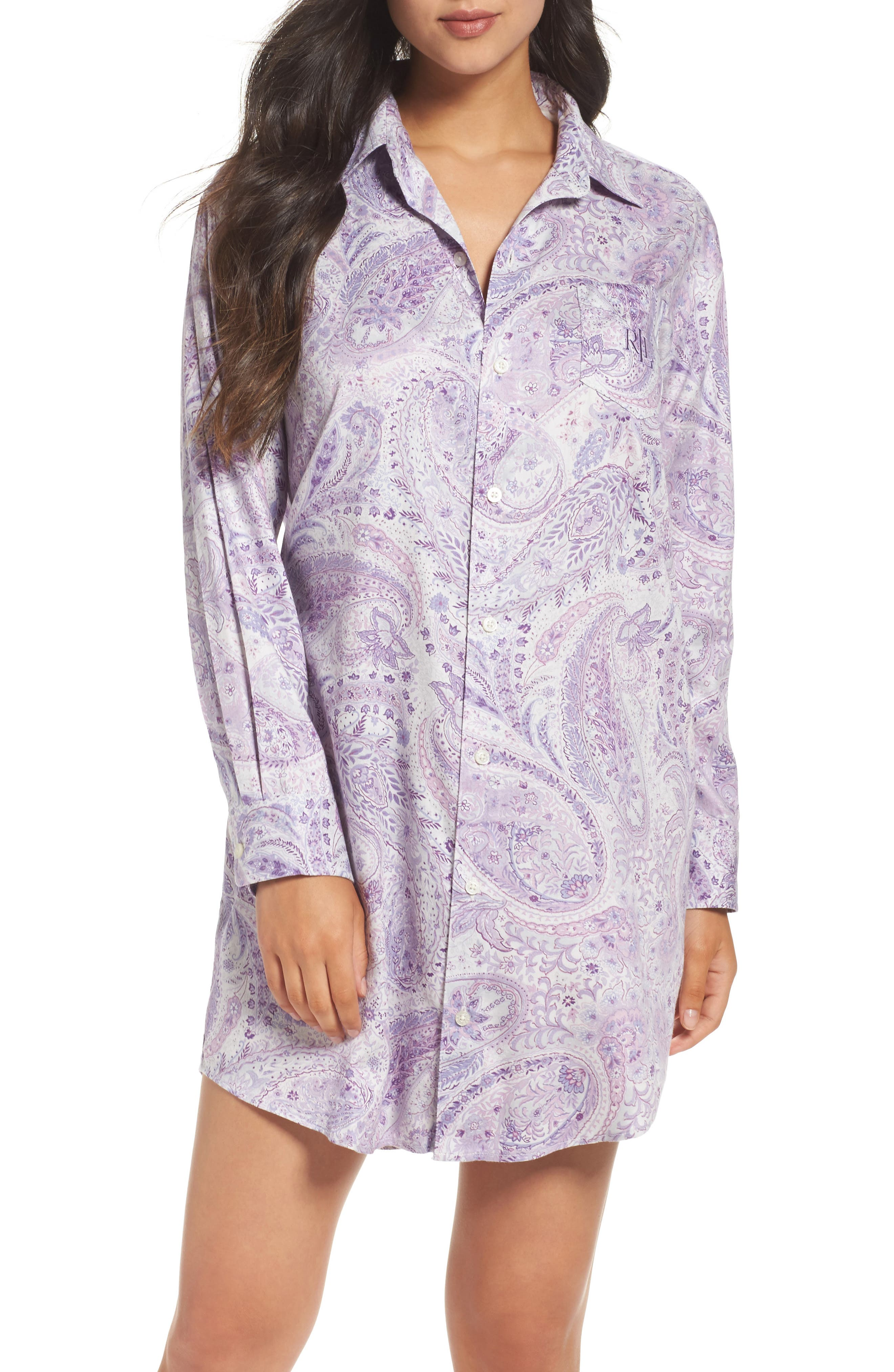Sleep Shirt,                         Main,                         color, Purple Paisley