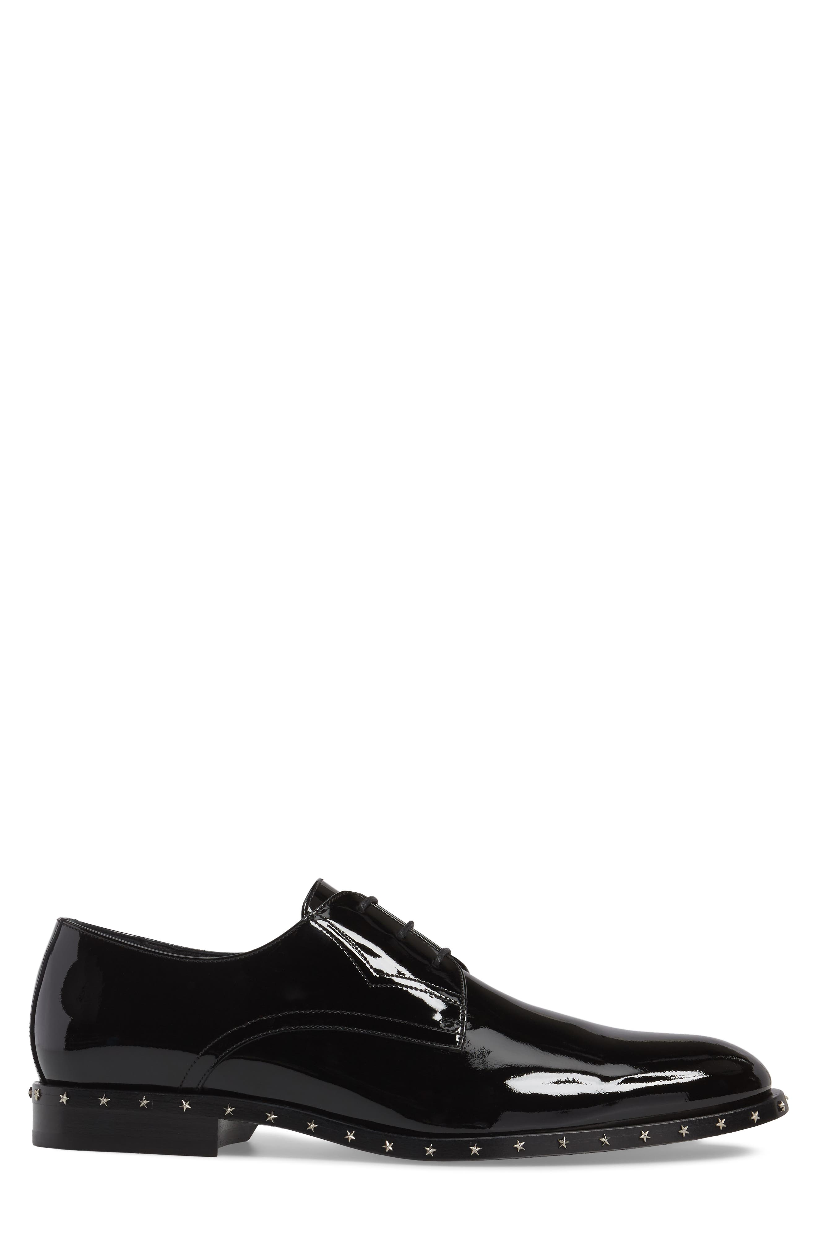 Studded Plain Toe Derby,                             Alternate thumbnail 3, color,                             Black Patent Leather