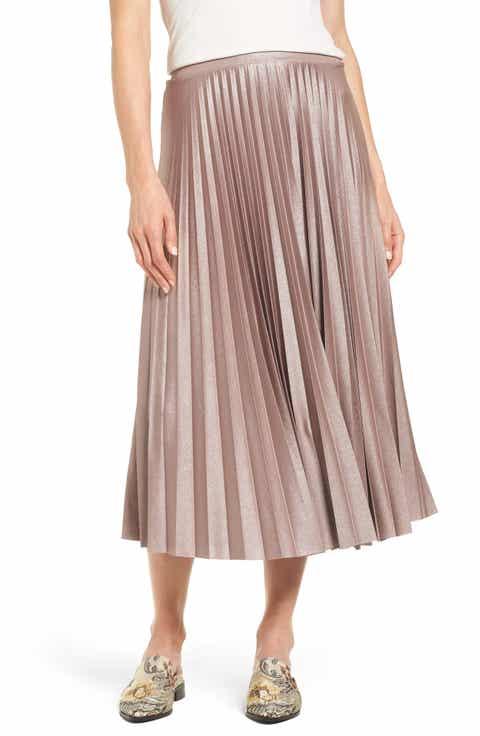 Halogen® Metallic Pleat Midi Skirt (Regular & Petite)