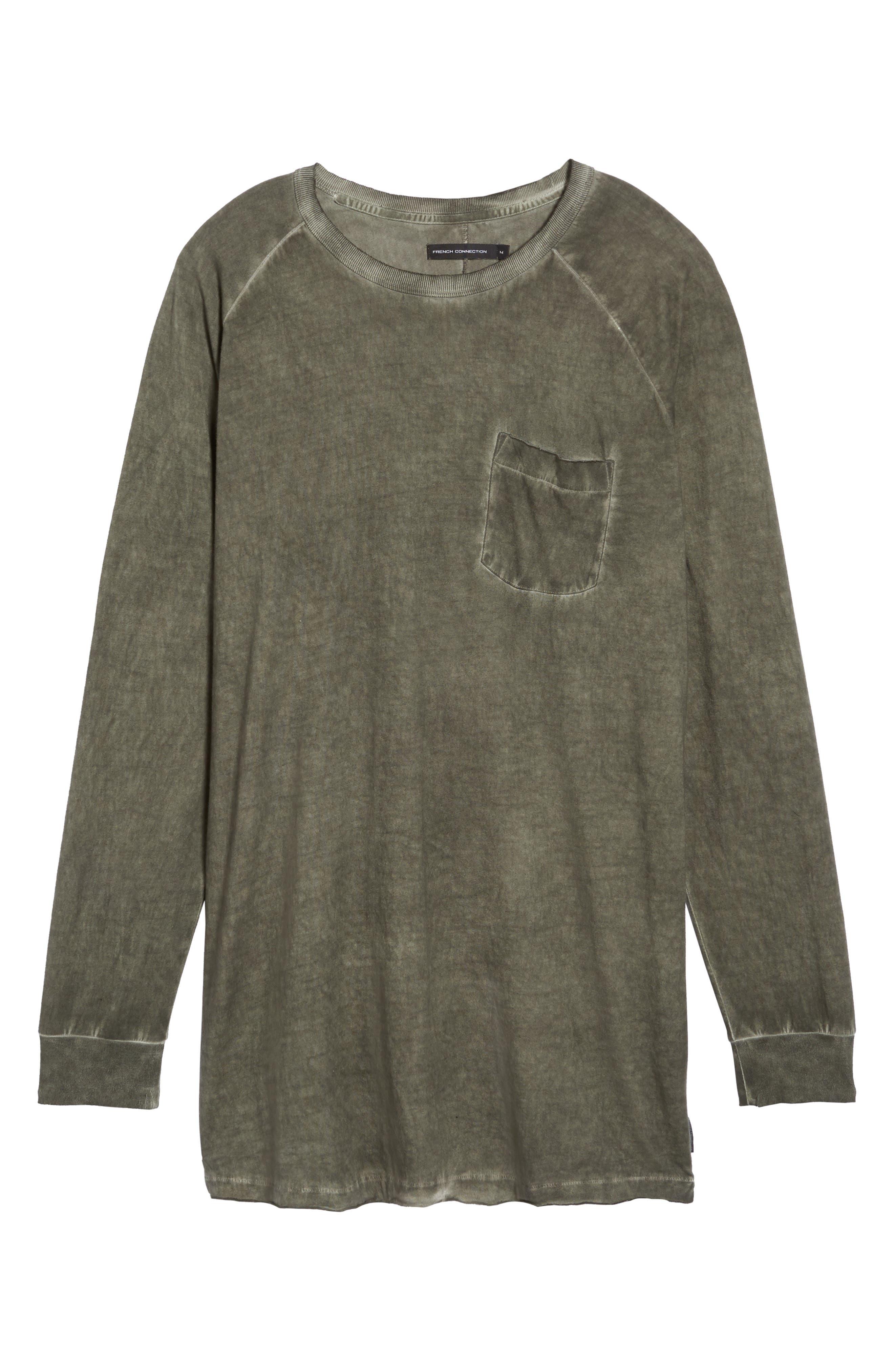 Pigment Dye Longline T-Shirt,                             Alternate thumbnail 5, color,                             Forest
