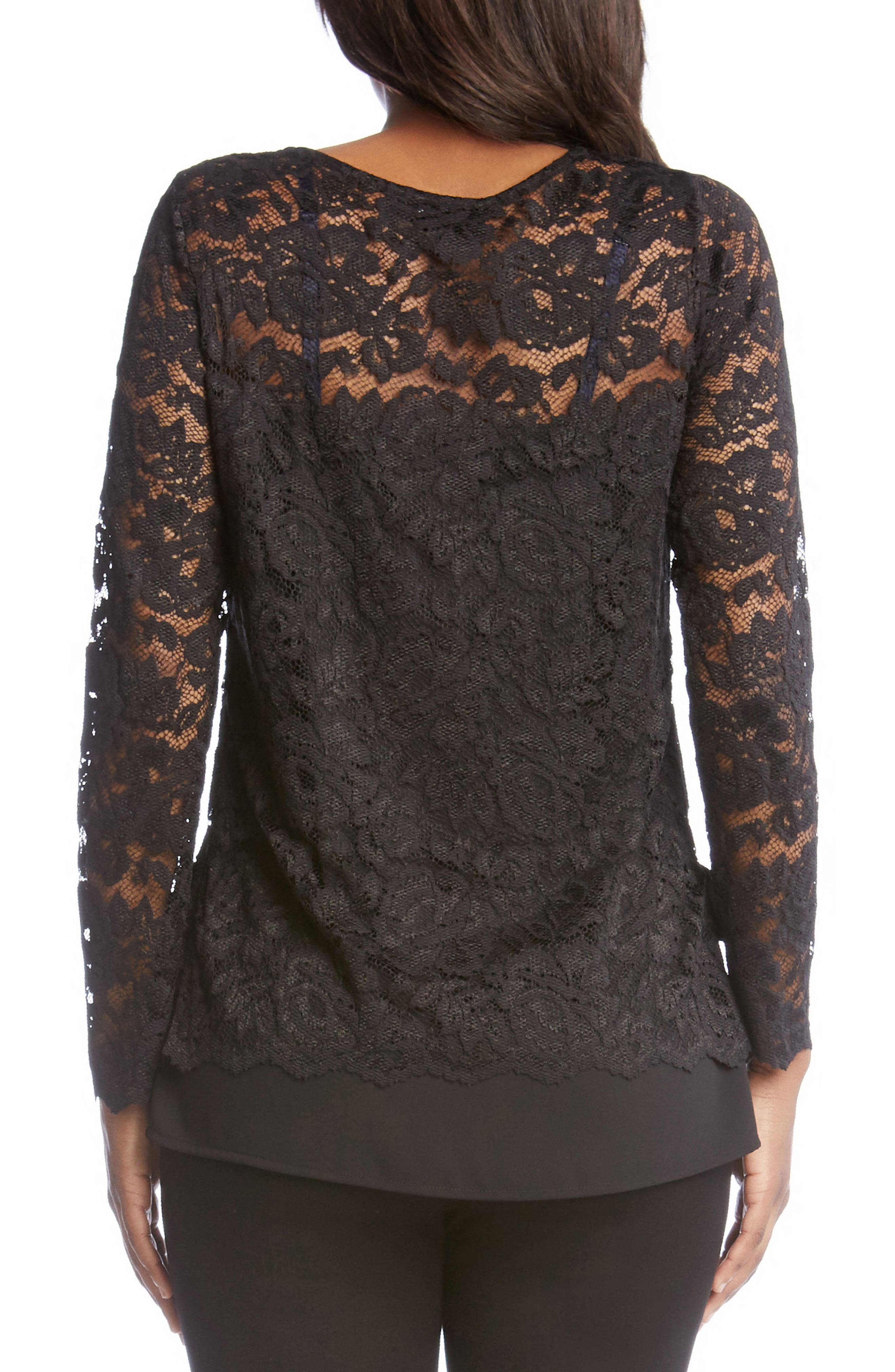 Lace Overlay Jersey Top,                             Alternate thumbnail 2, color,                             Black