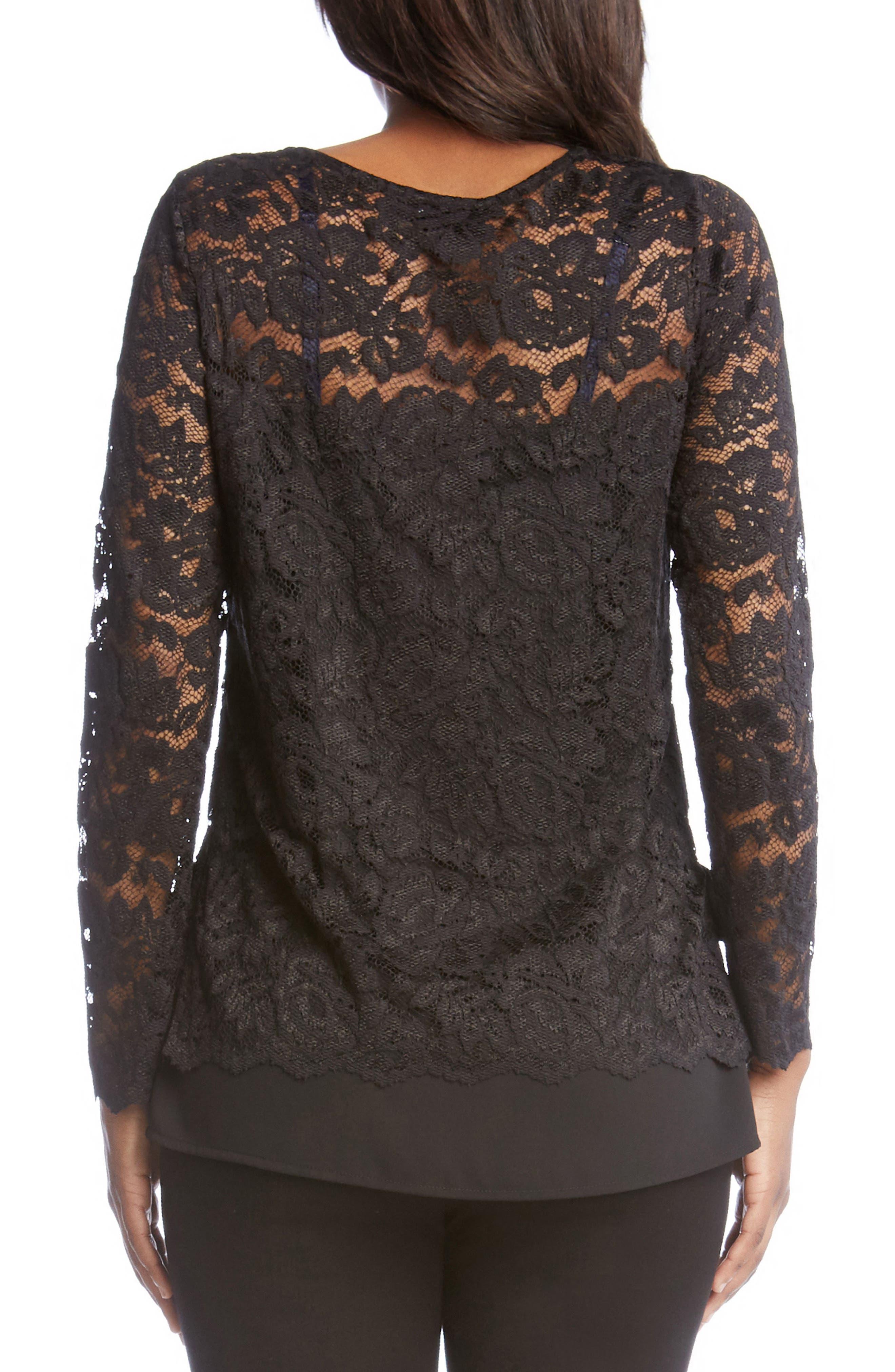Alternate Image 2  - Karen Kane Lace Overlay Jersey Top