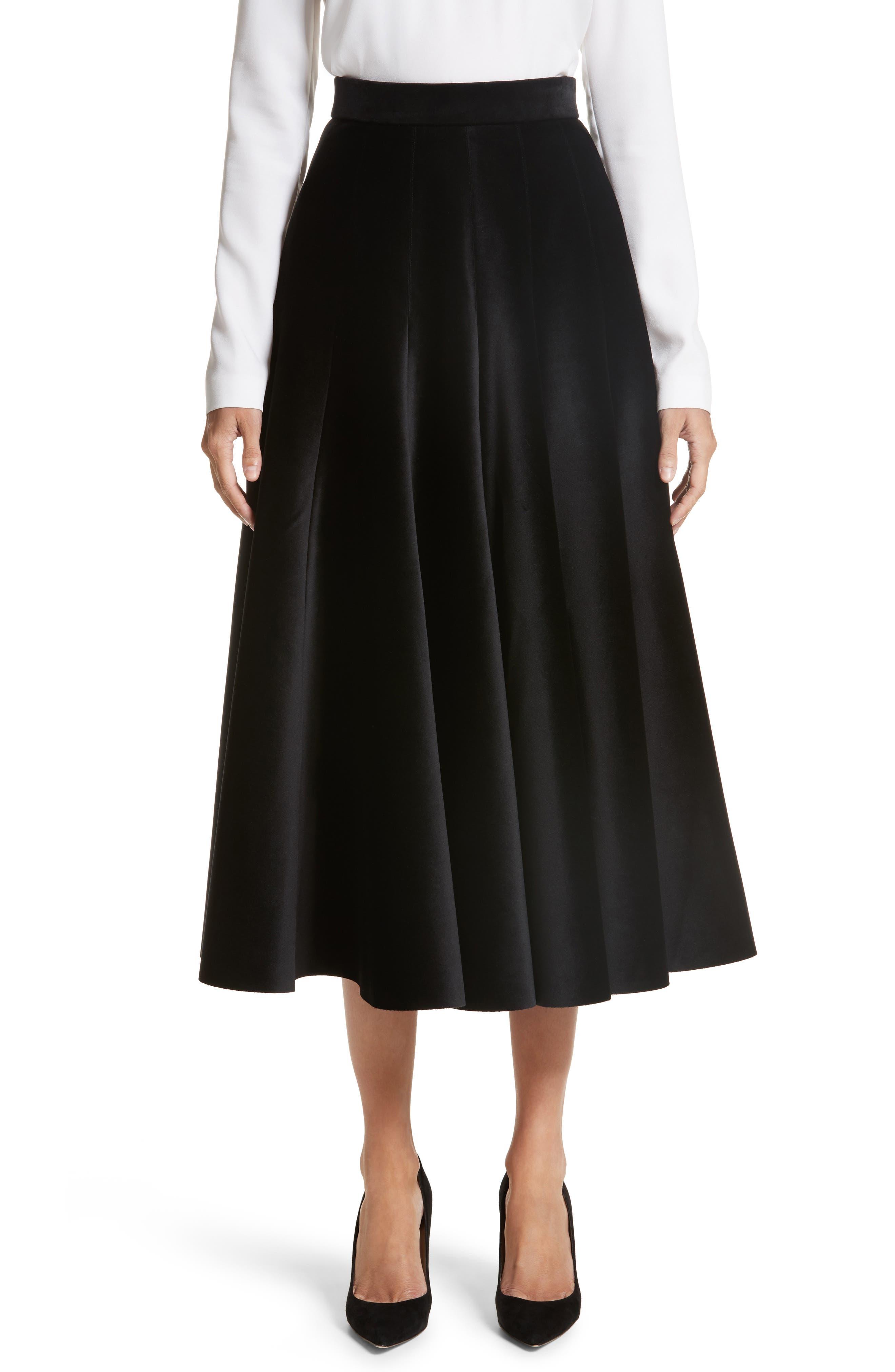 Velvet A-Line Midi Skirt,                             Main thumbnail 1, color,                             Black