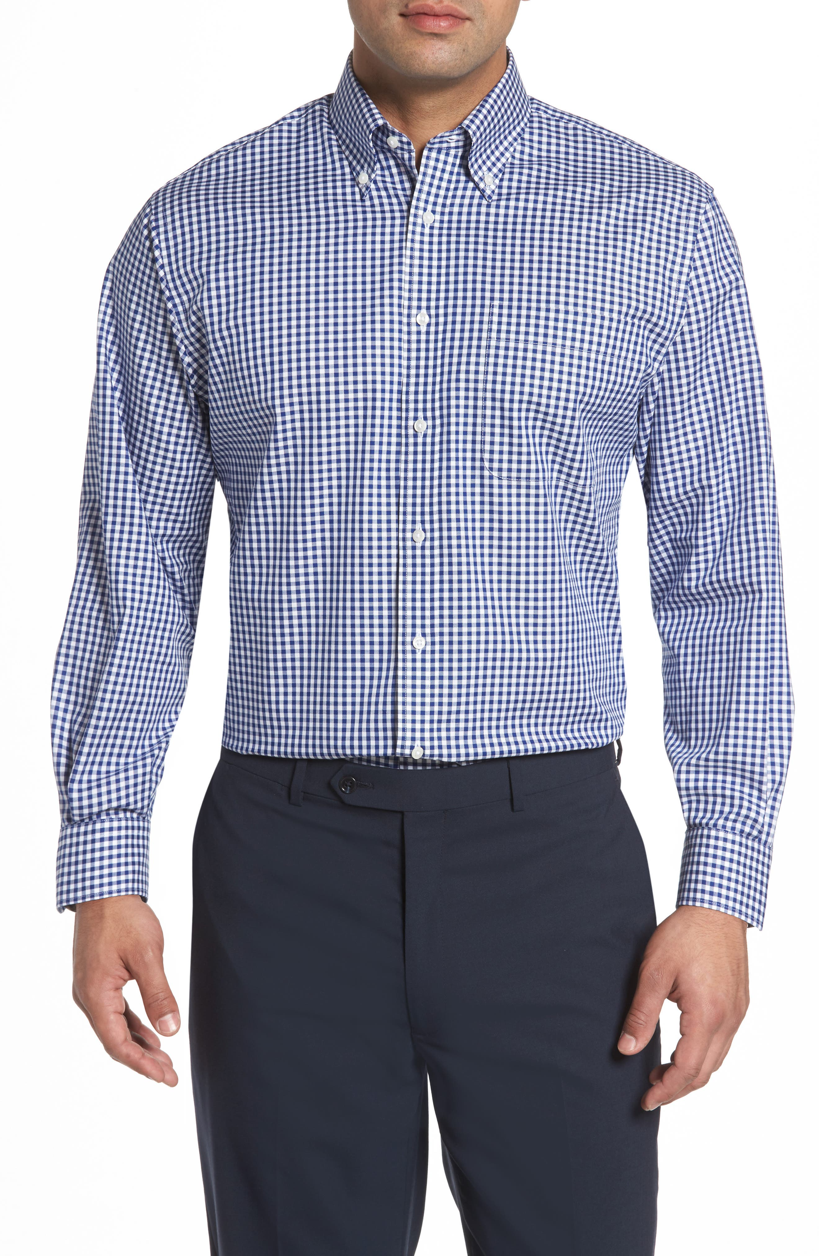 Classic Fit Non-Iron Gingham Dress Shirt,                         Main,                         color, Navy- Patriot