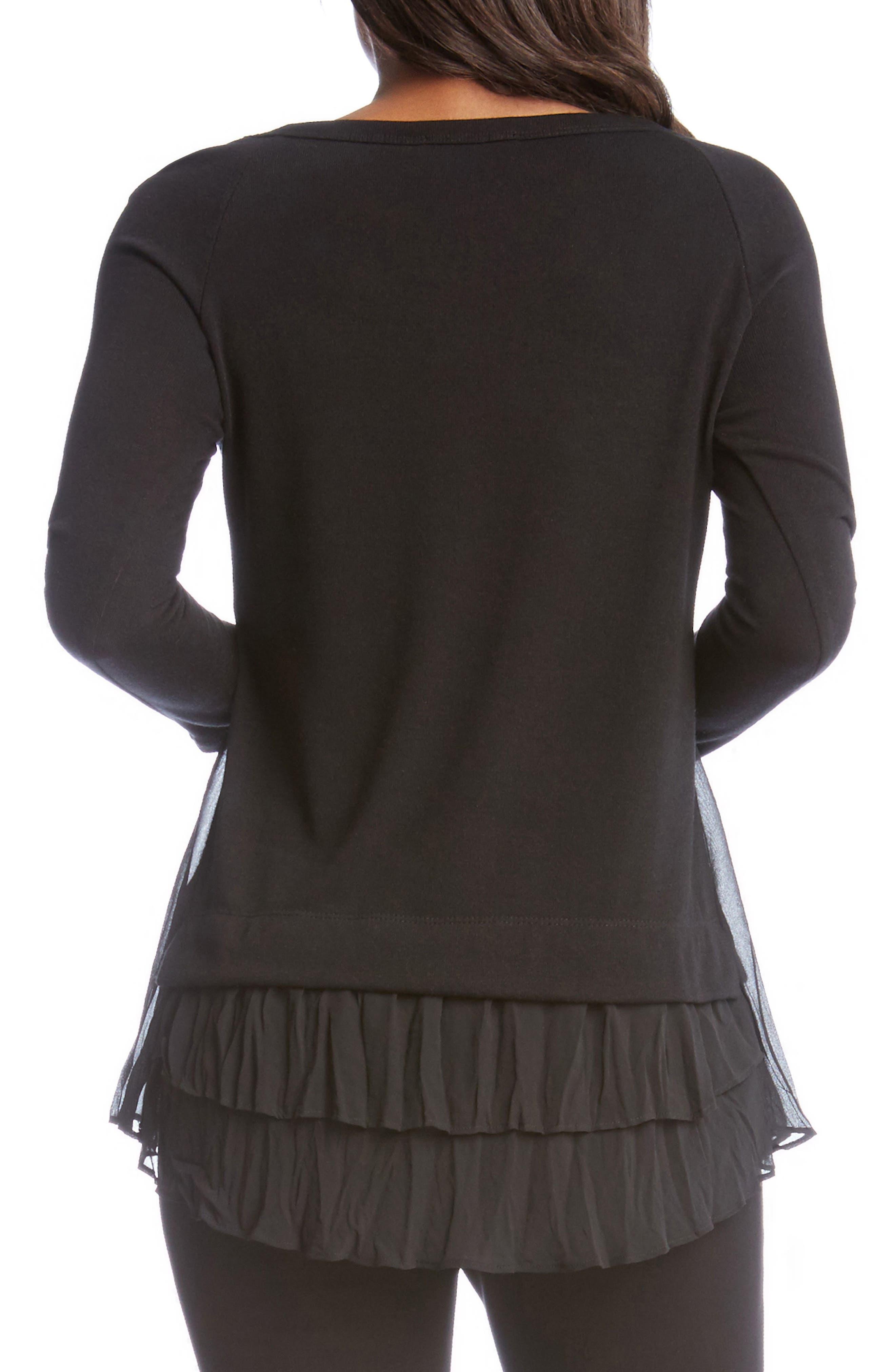 Ruffle Hem Studded Sweater,                             Alternate thumbnail 2, color,                             Black