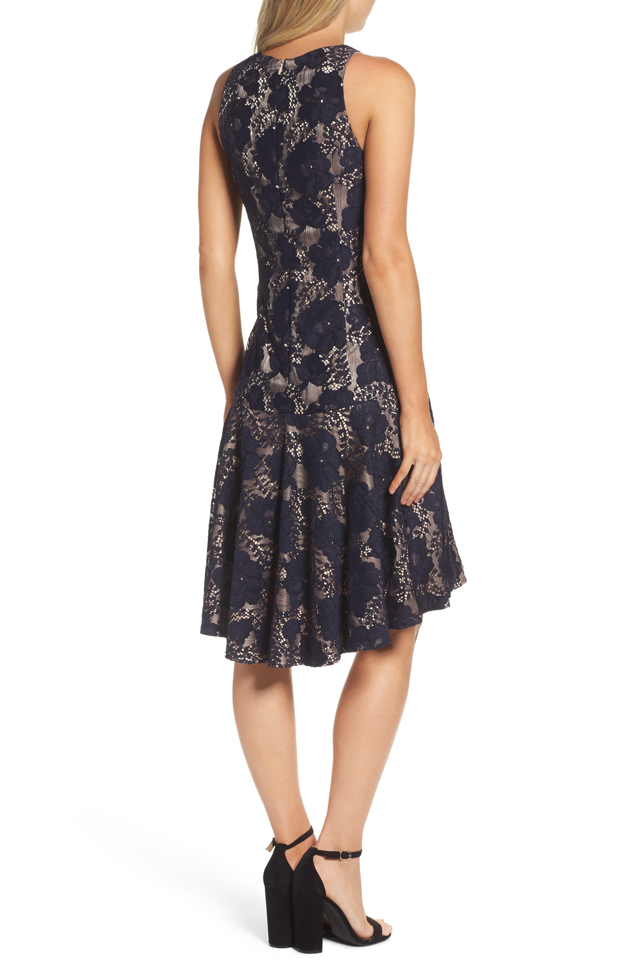 Alternate Image 3  - Eliza J Sleeveless Lace Drop Waist High/Low Dress