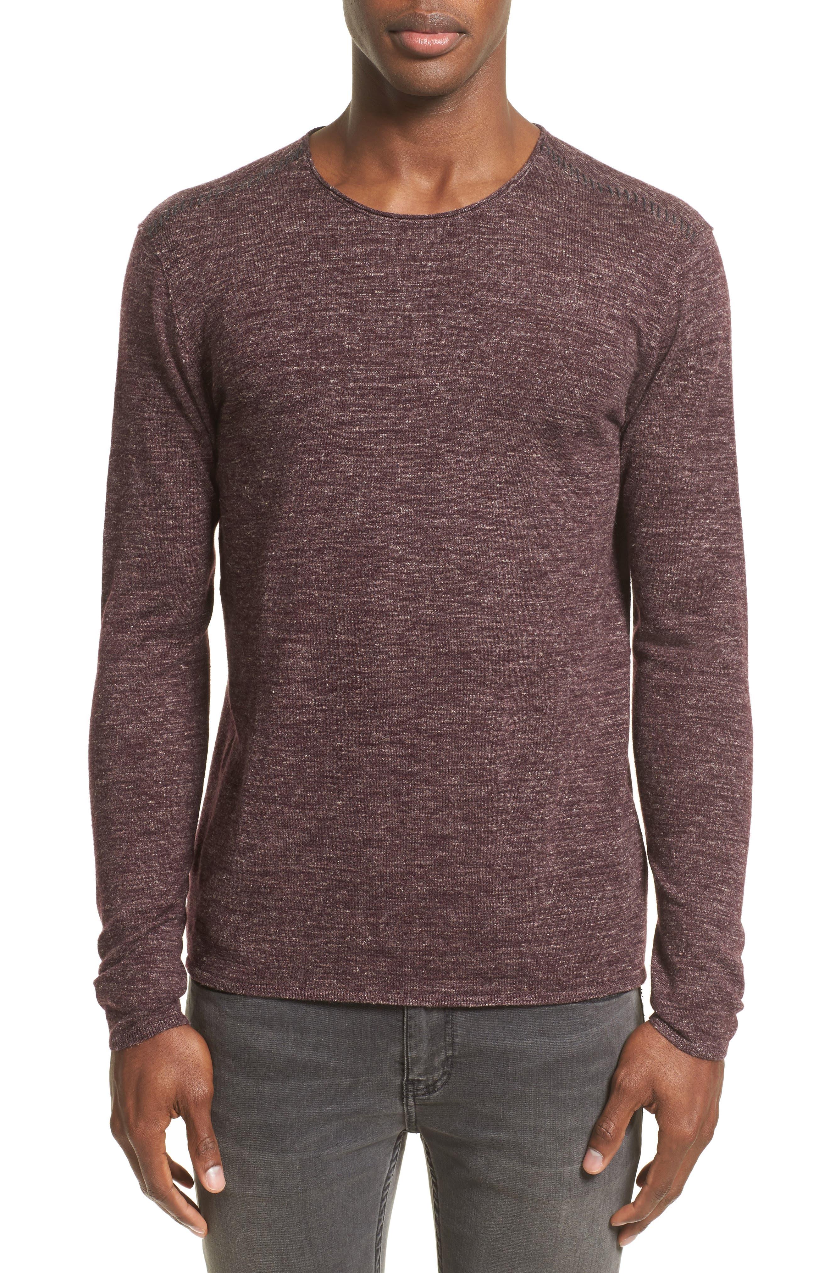 Heathered Crewneck Sweater,                         Main,                         color, Oxblood