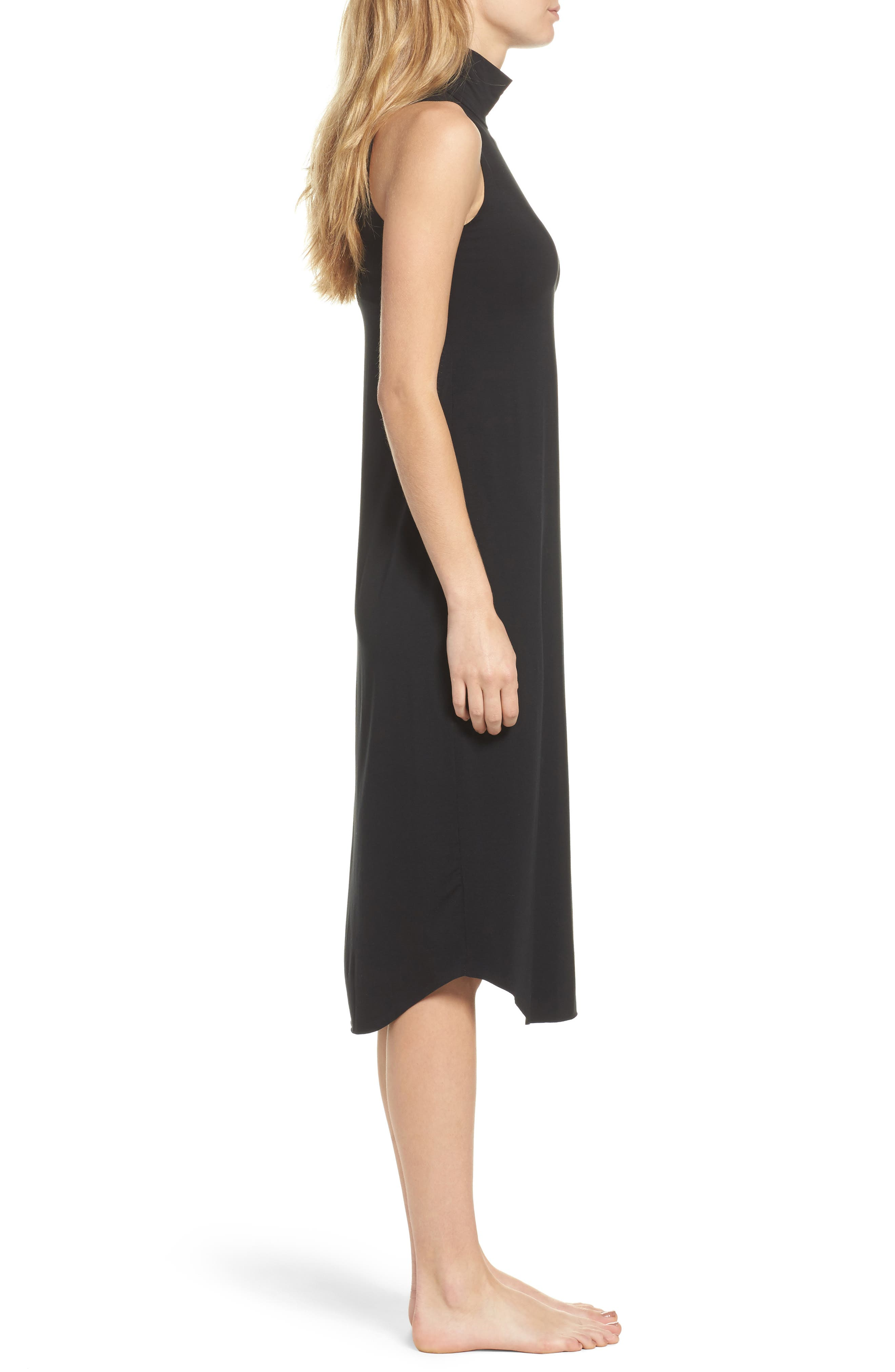 Butter Chic Turtleneck Chemise,                             Alternate thumbnail 3, color,                             Midnight