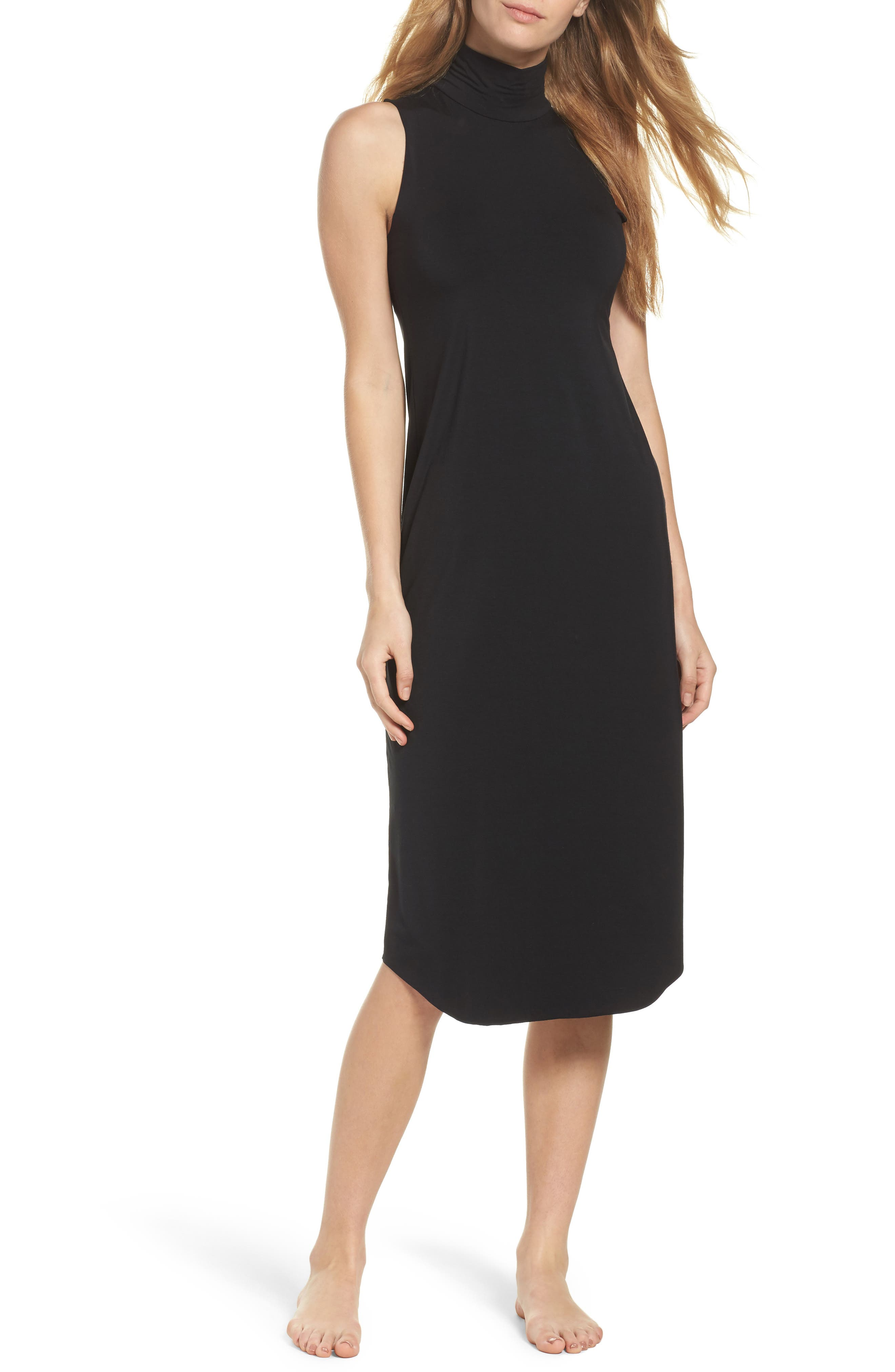Butter Chic Turtleneck Chemise,                             Main thumbnail 1, color,                             Midnight