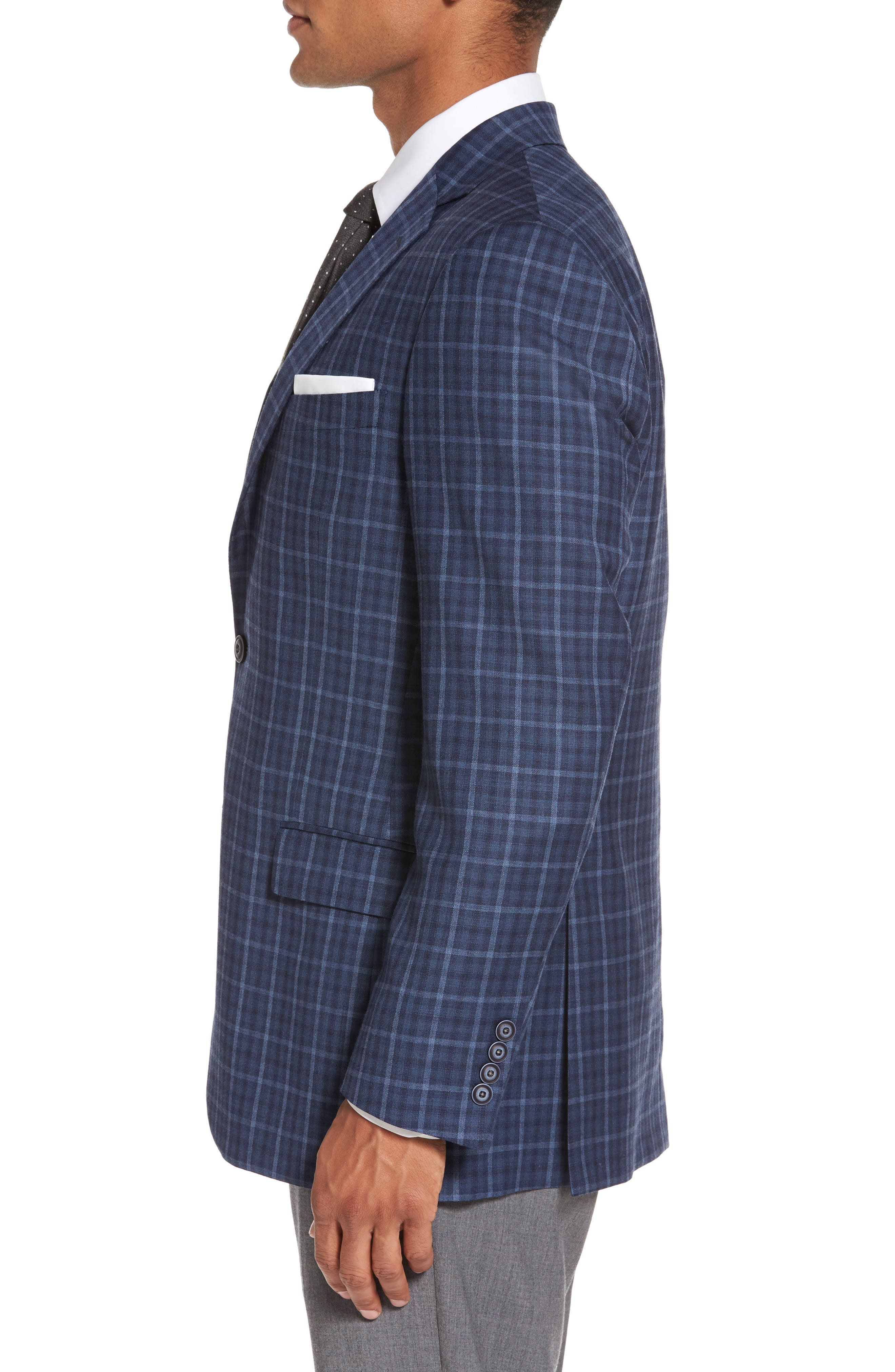 Classic Fit Check Wool Sport Coat,                             Alternate thumbnail 3, color,                             Medium Blue