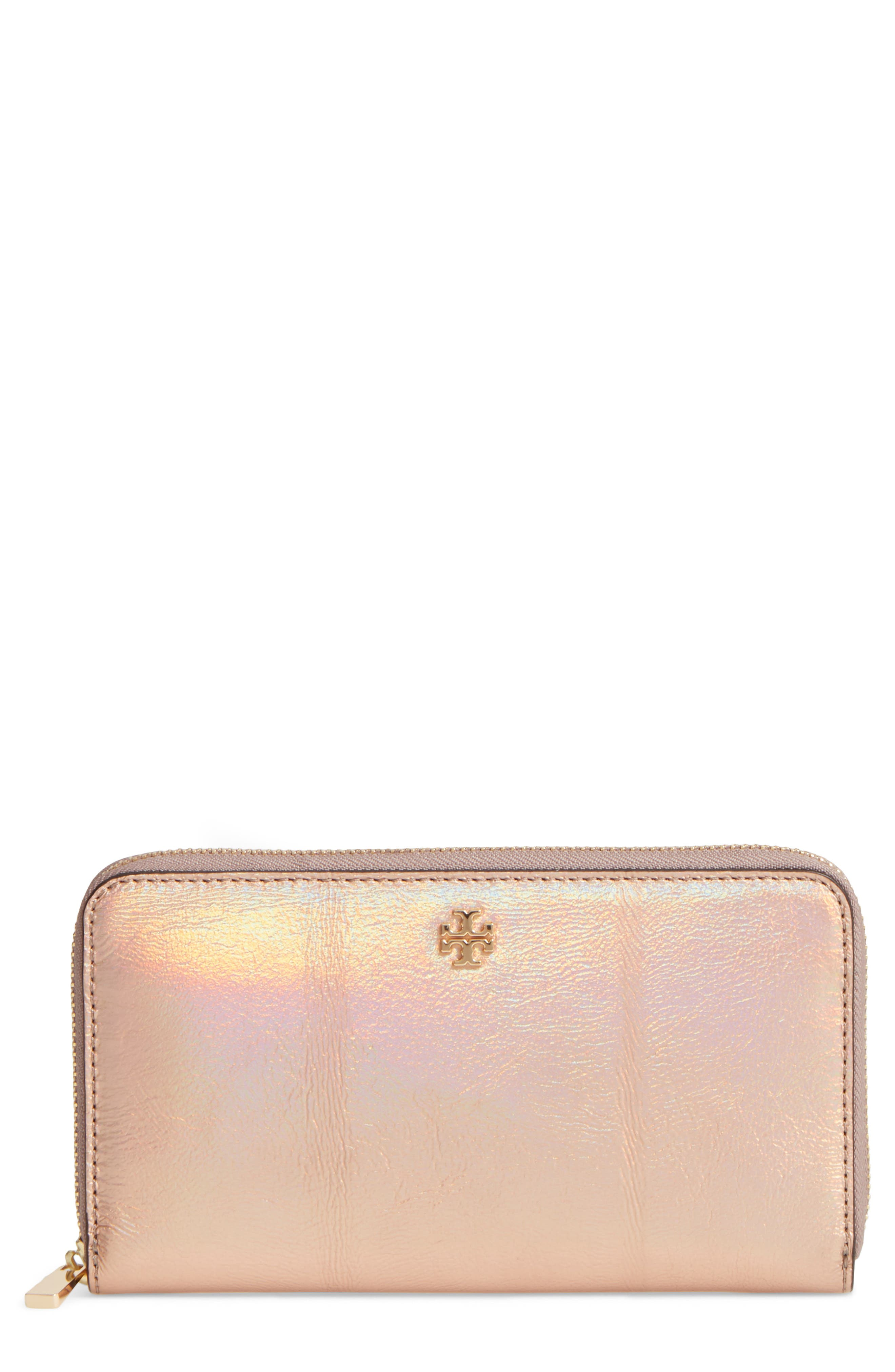 Main Image - Tory Burch Robinson Metallic Leather Continental Wallet