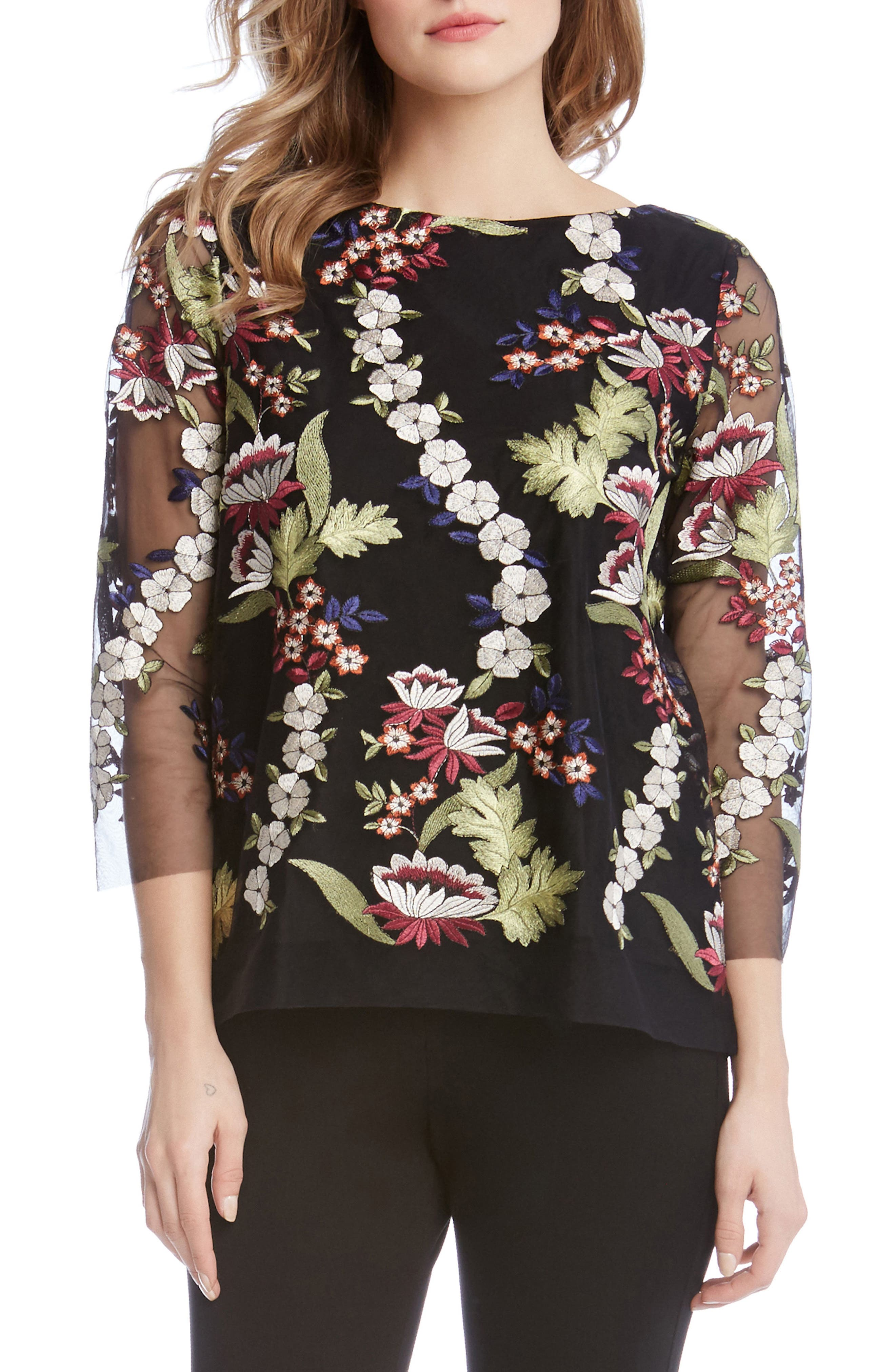 Embroidered Tulle Top,                         Main,                         color, Multi
