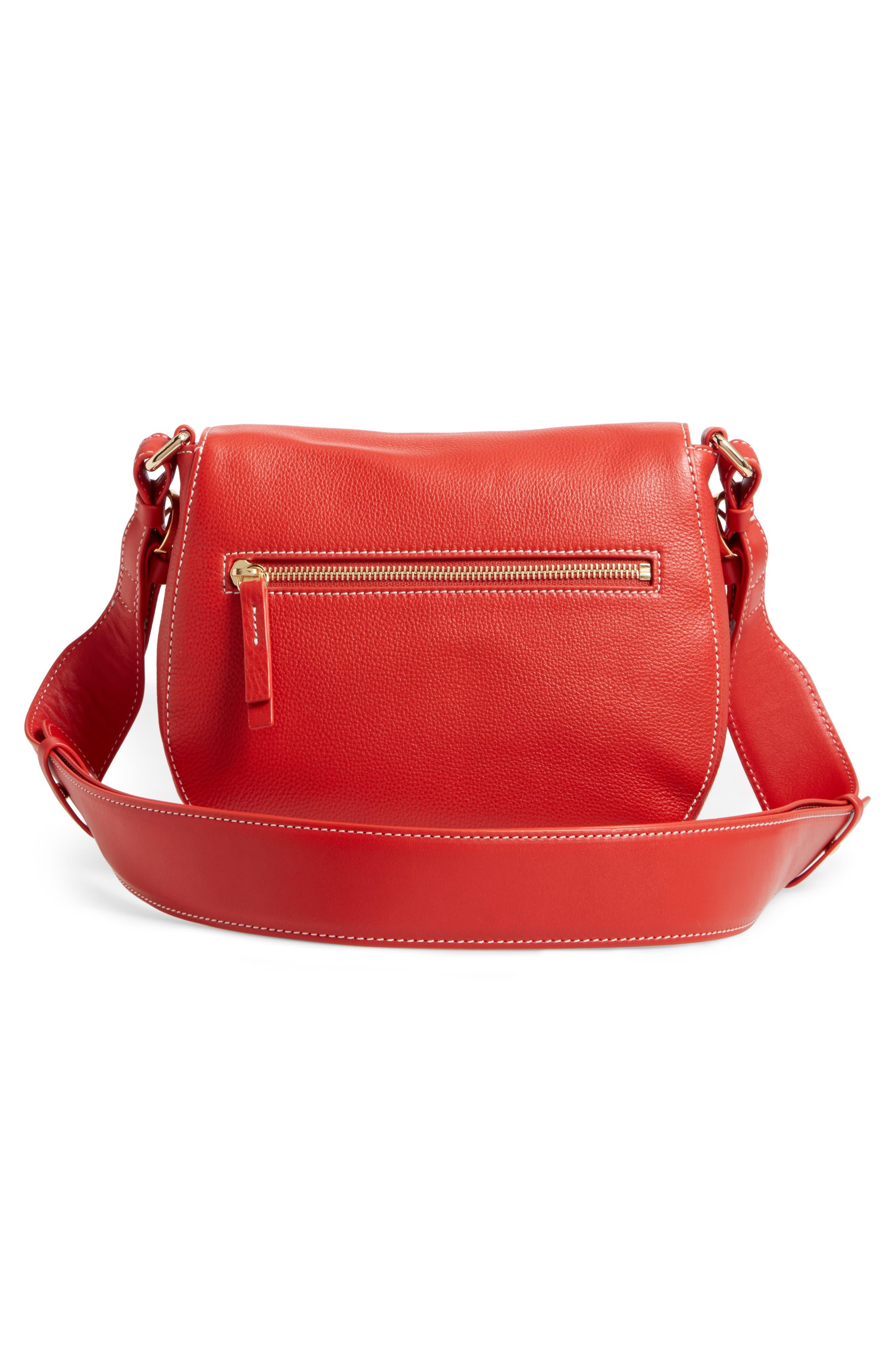 Small Ellen Leather Crossbody Bag,                             Alternate thumbnail 3, color,                             Coral
