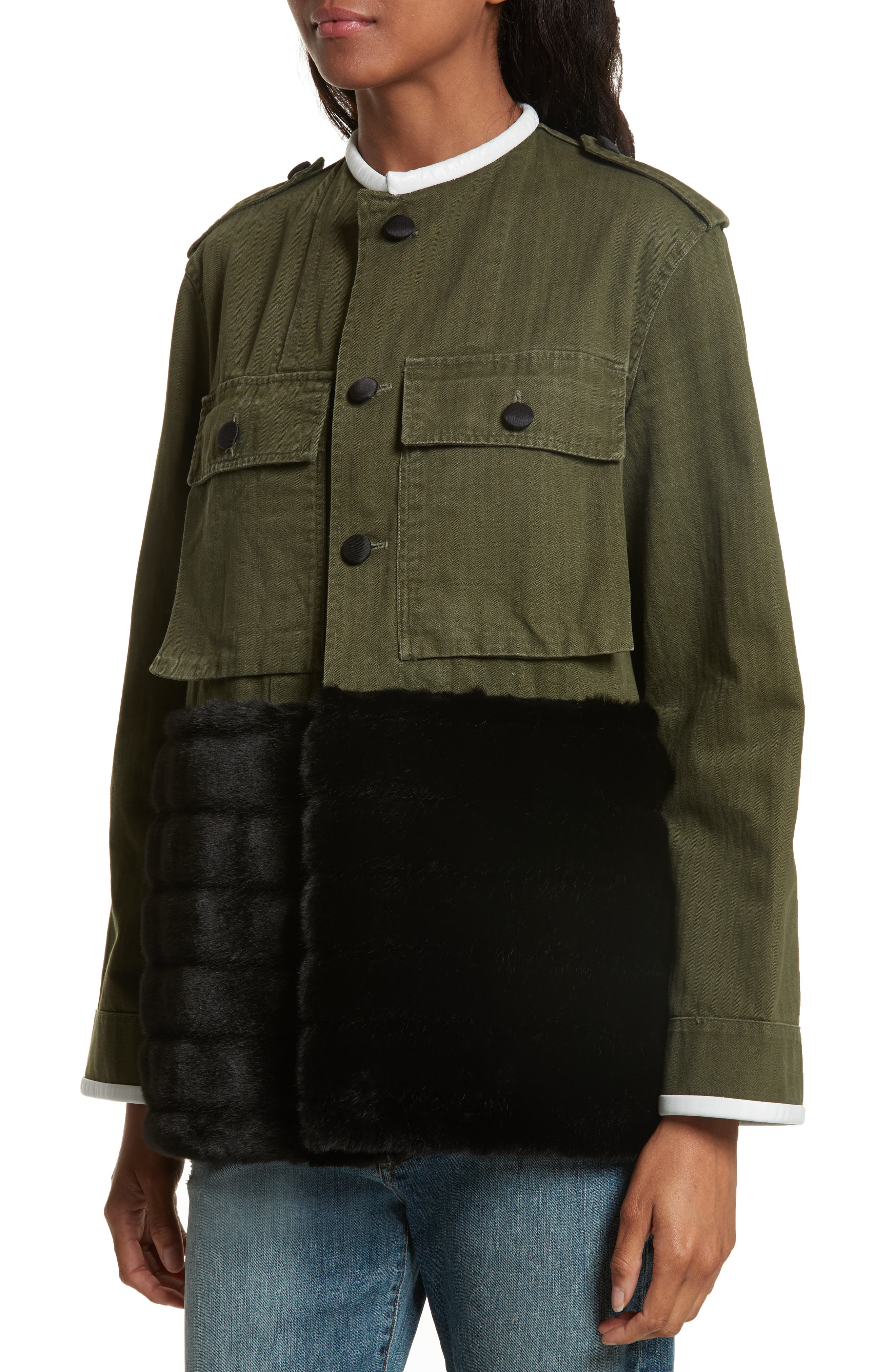 Alternate Image 4  - Harvey Faircloth Vintage Army Jacket with Faux Fur Trim