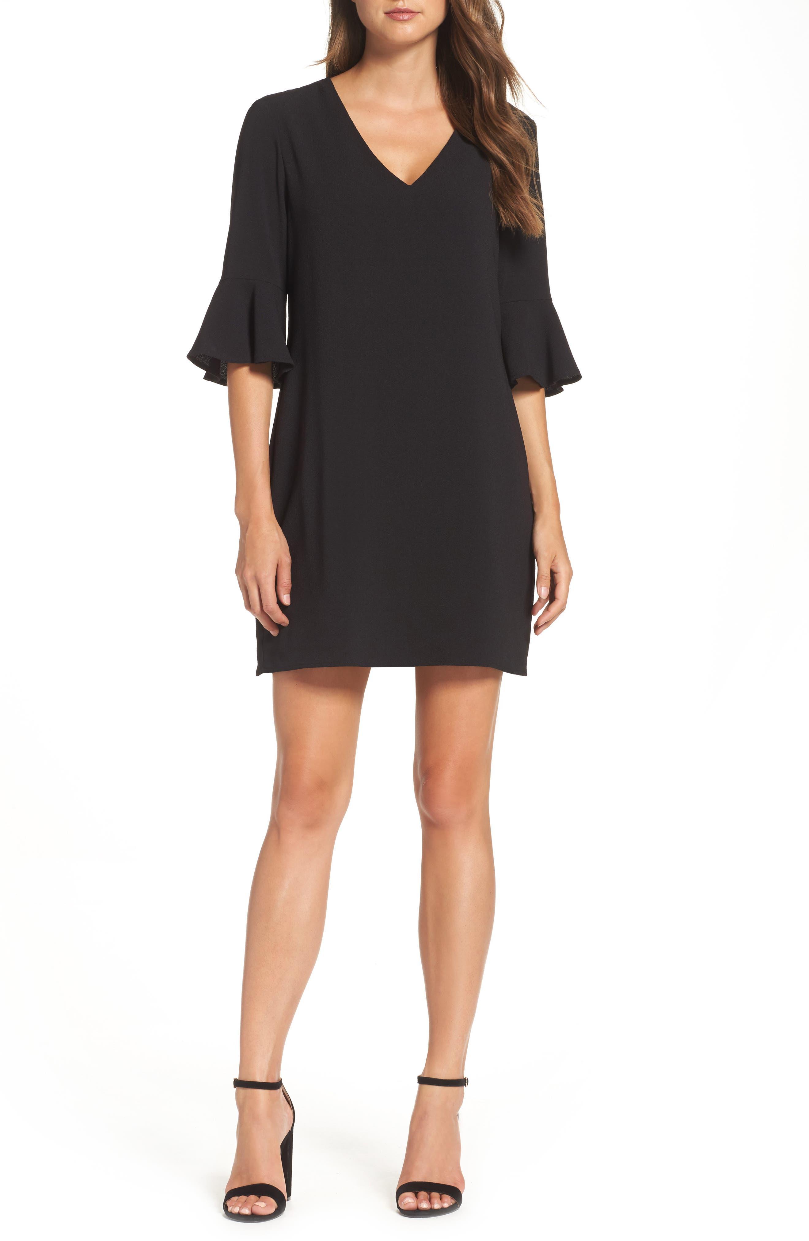 Ruffle Sleeve Shift Dress,                             Main thumbnail 1, color,                             Black