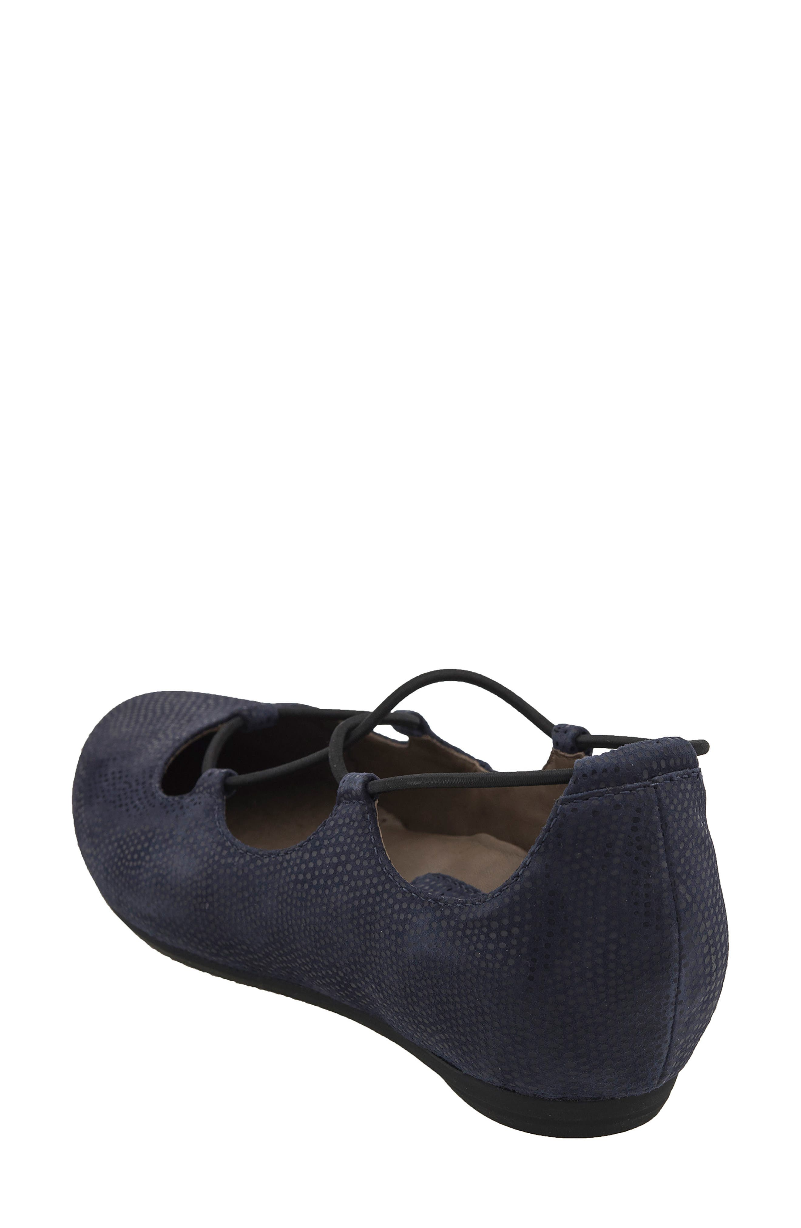 'Essen' Ghillie Flat,                             Alternate thumbnail 3, color,                             Navy Printed Suede