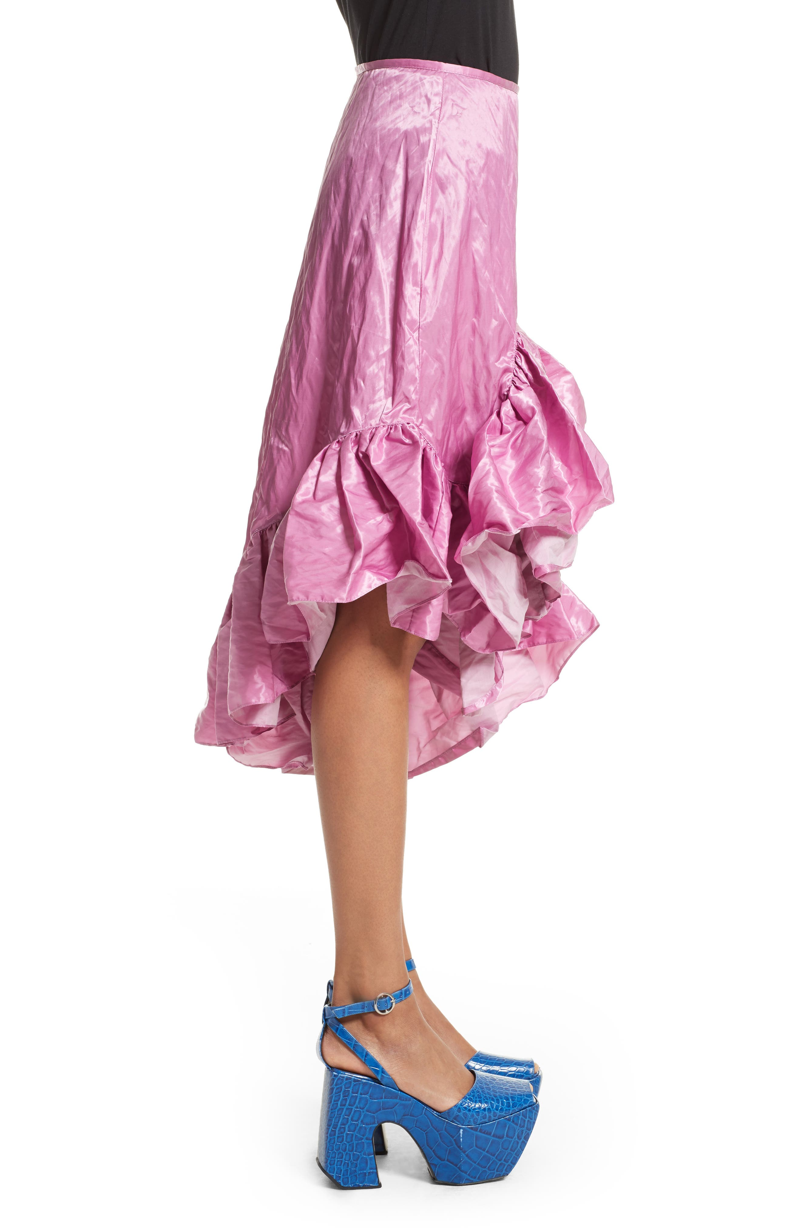 Marques'Almeida Asymmetrical Ruffle Taffeta Skirt,                             Alternate thumbnail 3, color,                             Pink