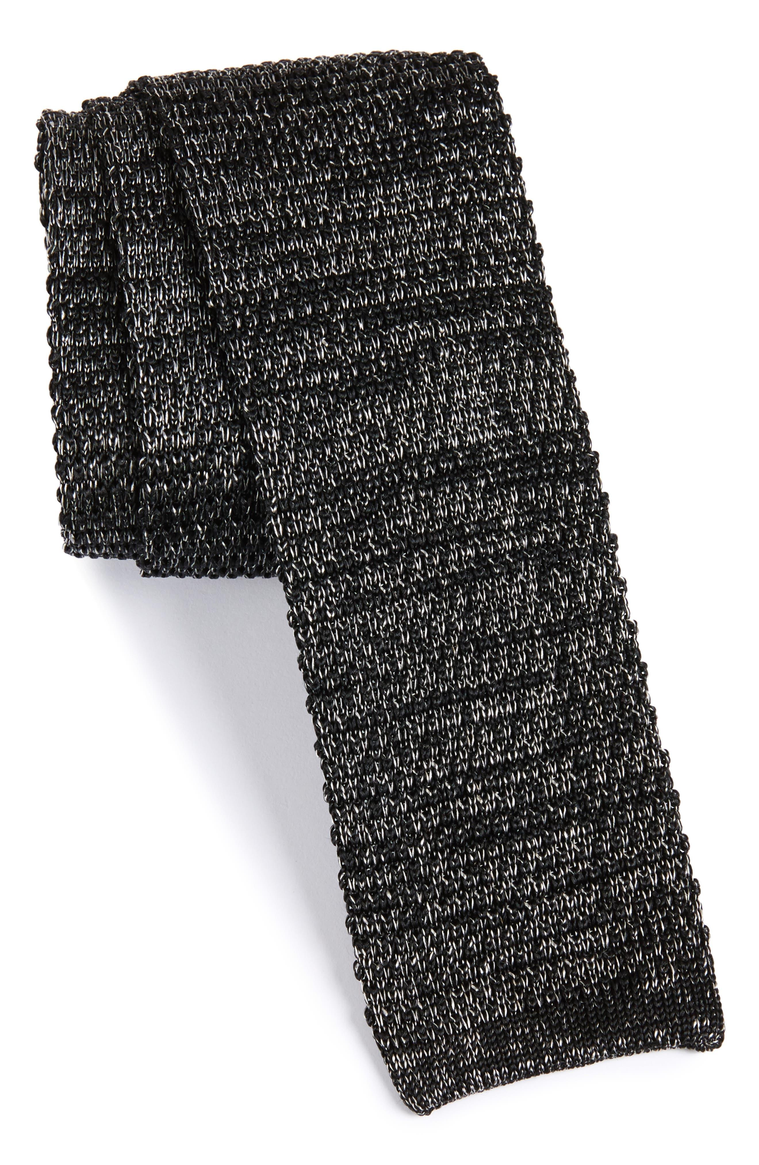 Knit Silk Tie,                         Main,                         color, Silver