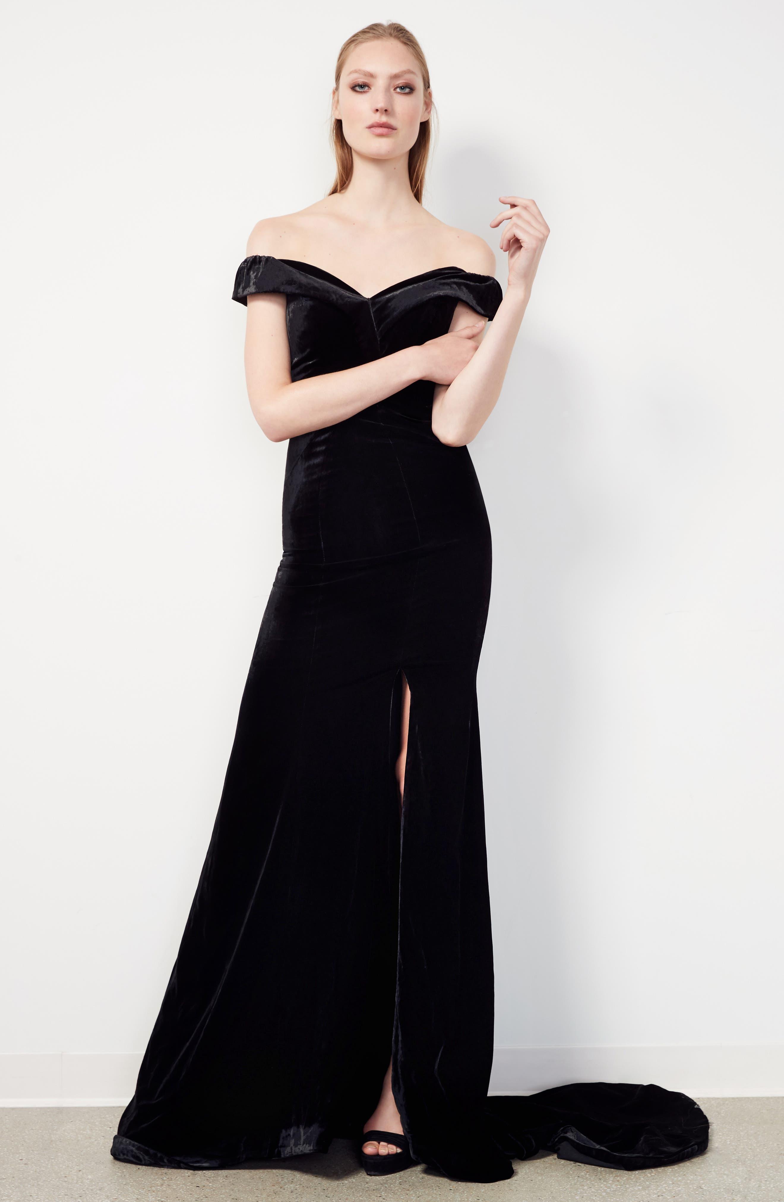 Alternate Image 6  - Rachel Gilbert Violetta Velvet Off the Shoulder Gown