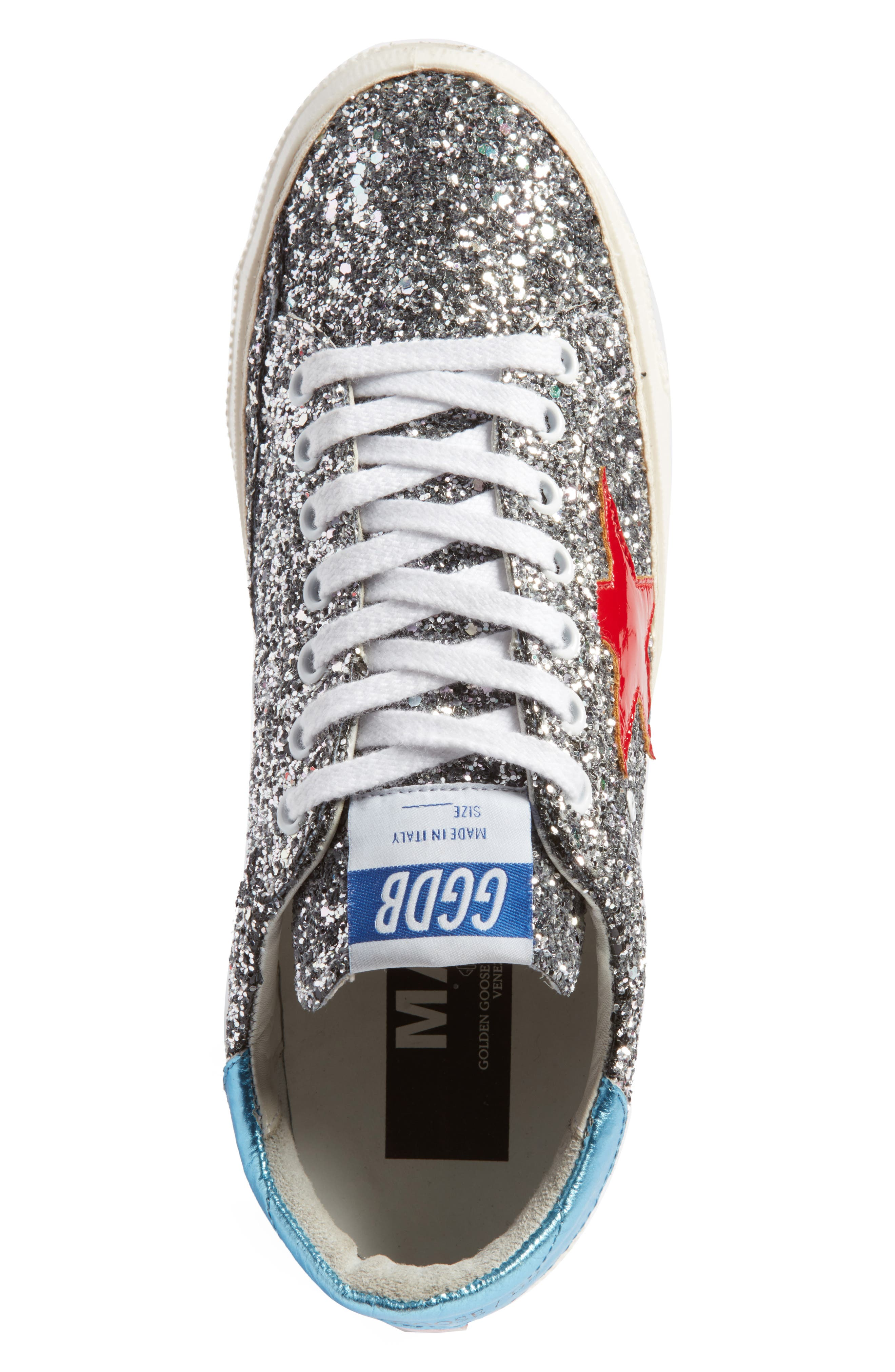 May Sneaker,                             Alternate thumbnail 5, color,                             Silver Glitter/ Red