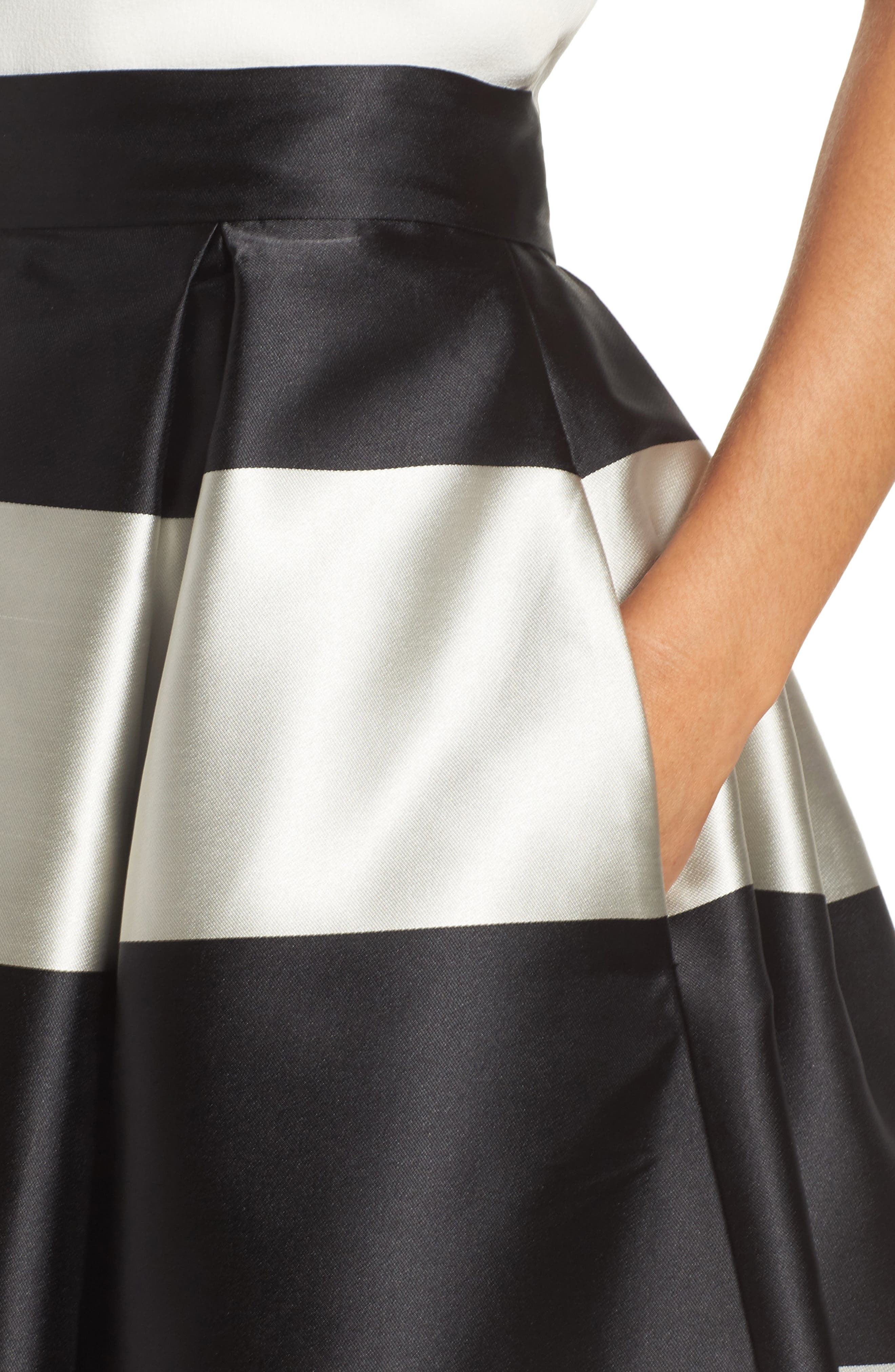 Stripe Pleated Midi Skirt,                             Alternate thumbnail 4, color,                             Black/ Ivory