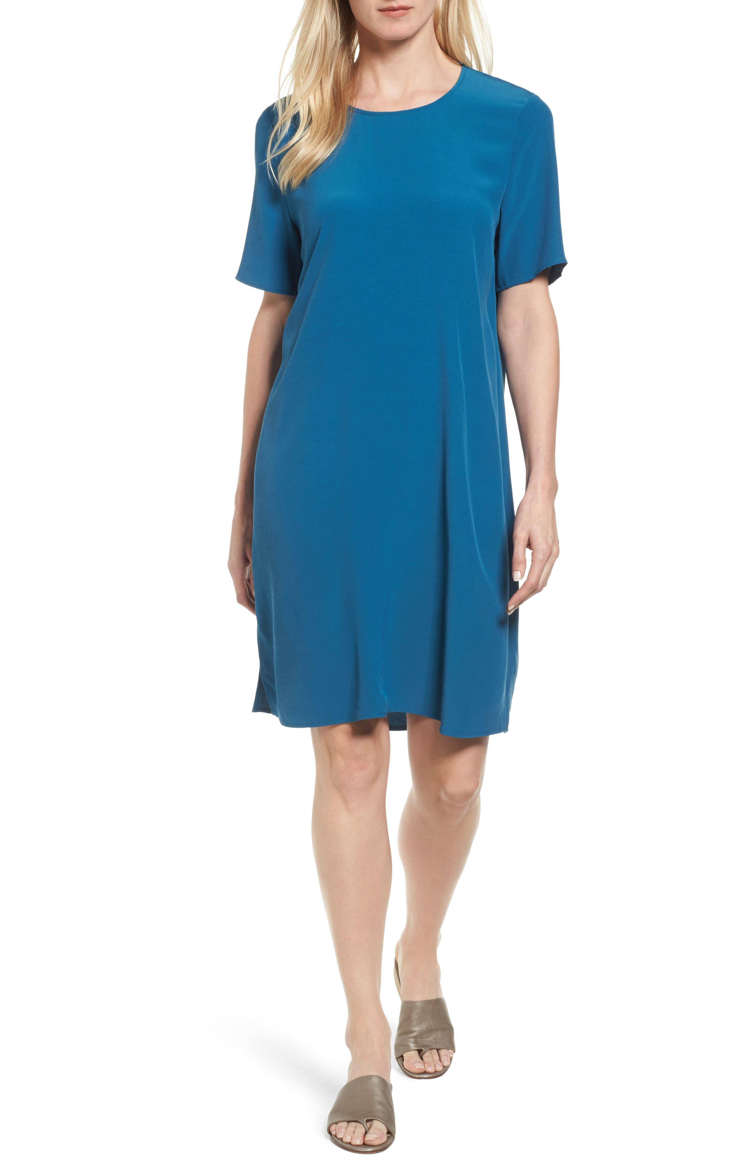 Alternate Image 1 Selected - Eileen Fisher Tencel® Blend Jersey Shift Dress (Regular & Petite)