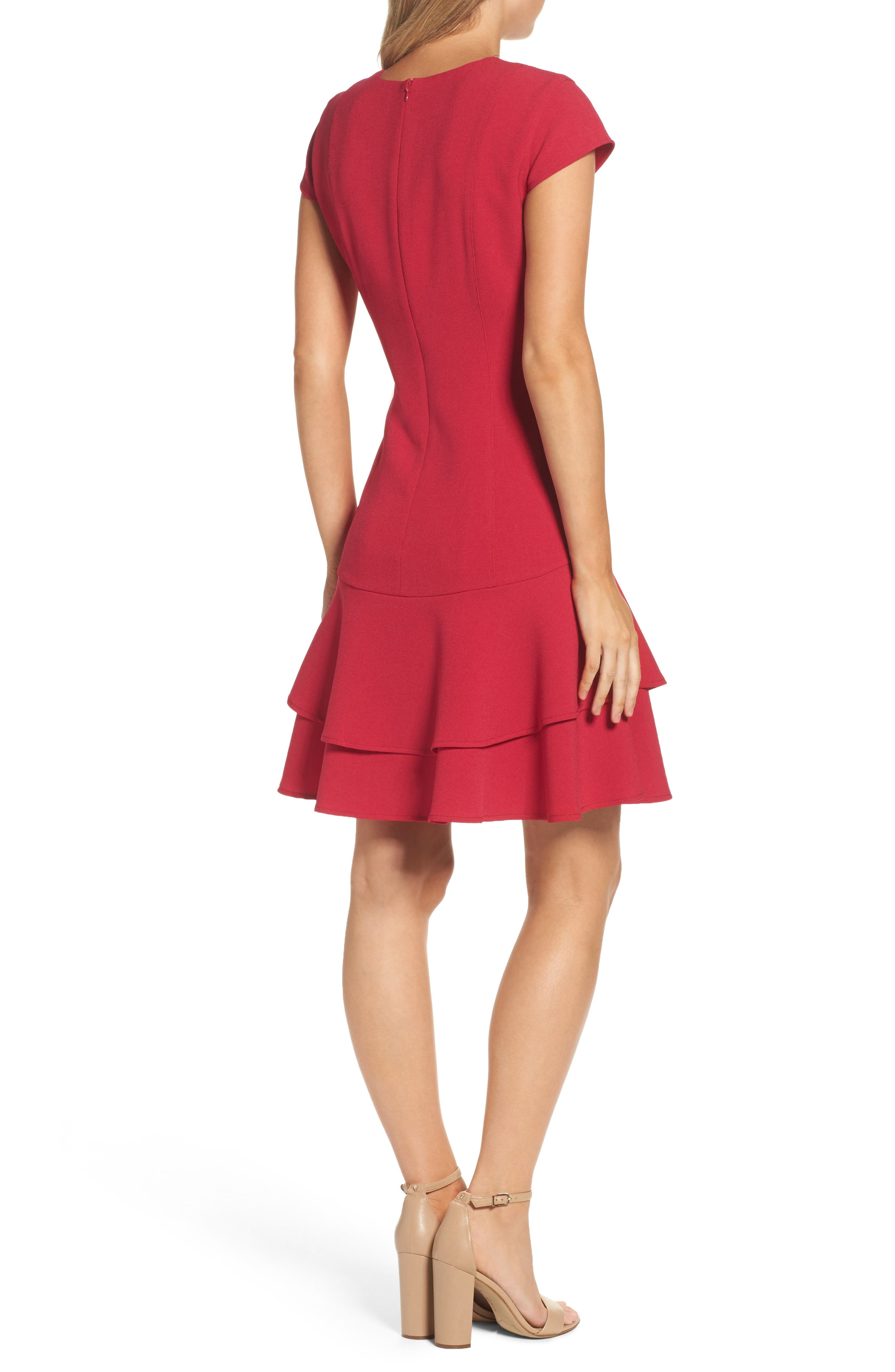 Stretch Crepe Sheath Dress,                             Alternate thumbnail 2, color,                             Berry