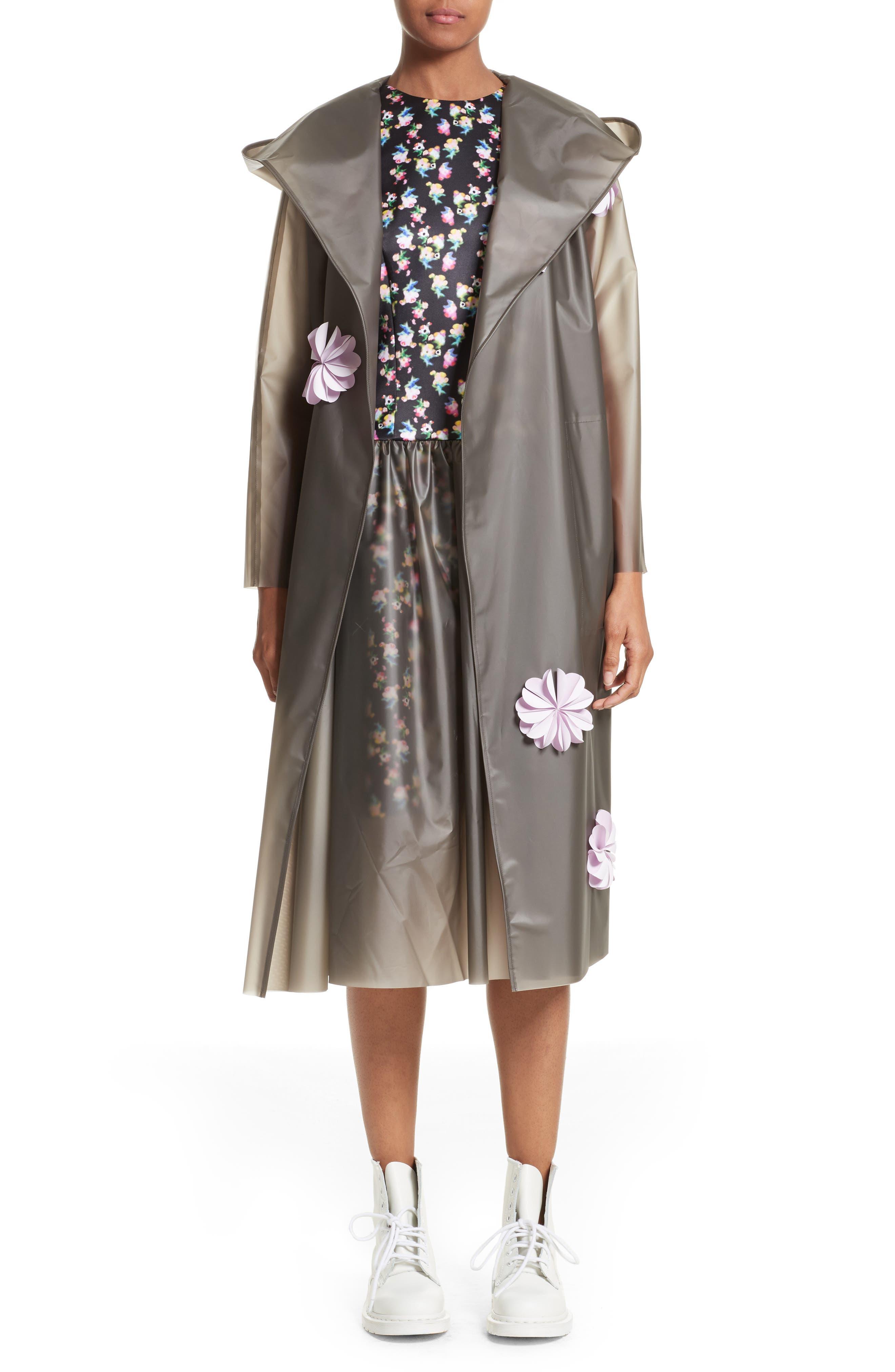 PASKAL Reflective Flower Trim Vinyl Raincoat