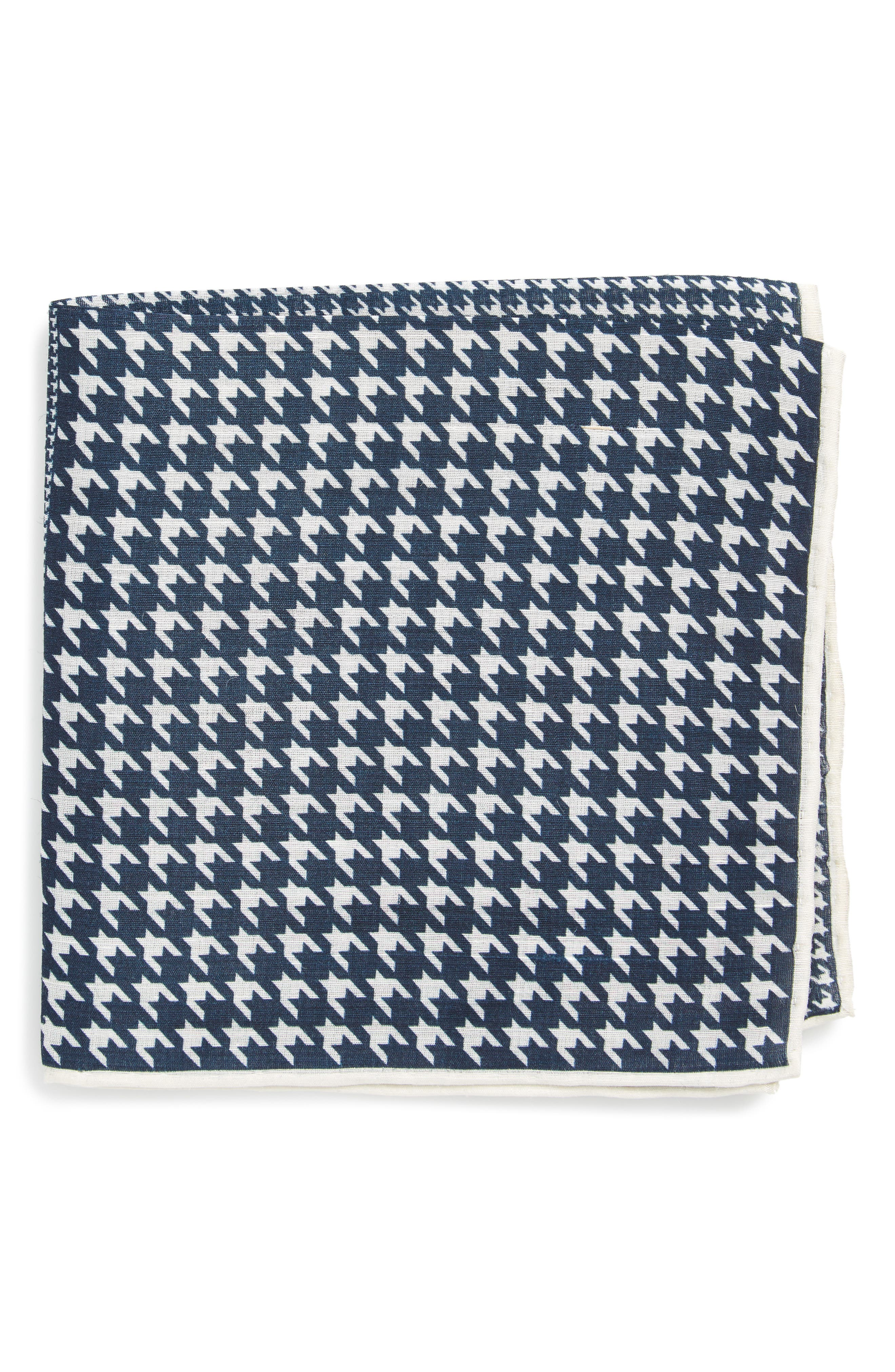 Houndstooth Pocket Square,                         Main,                         color, Navy