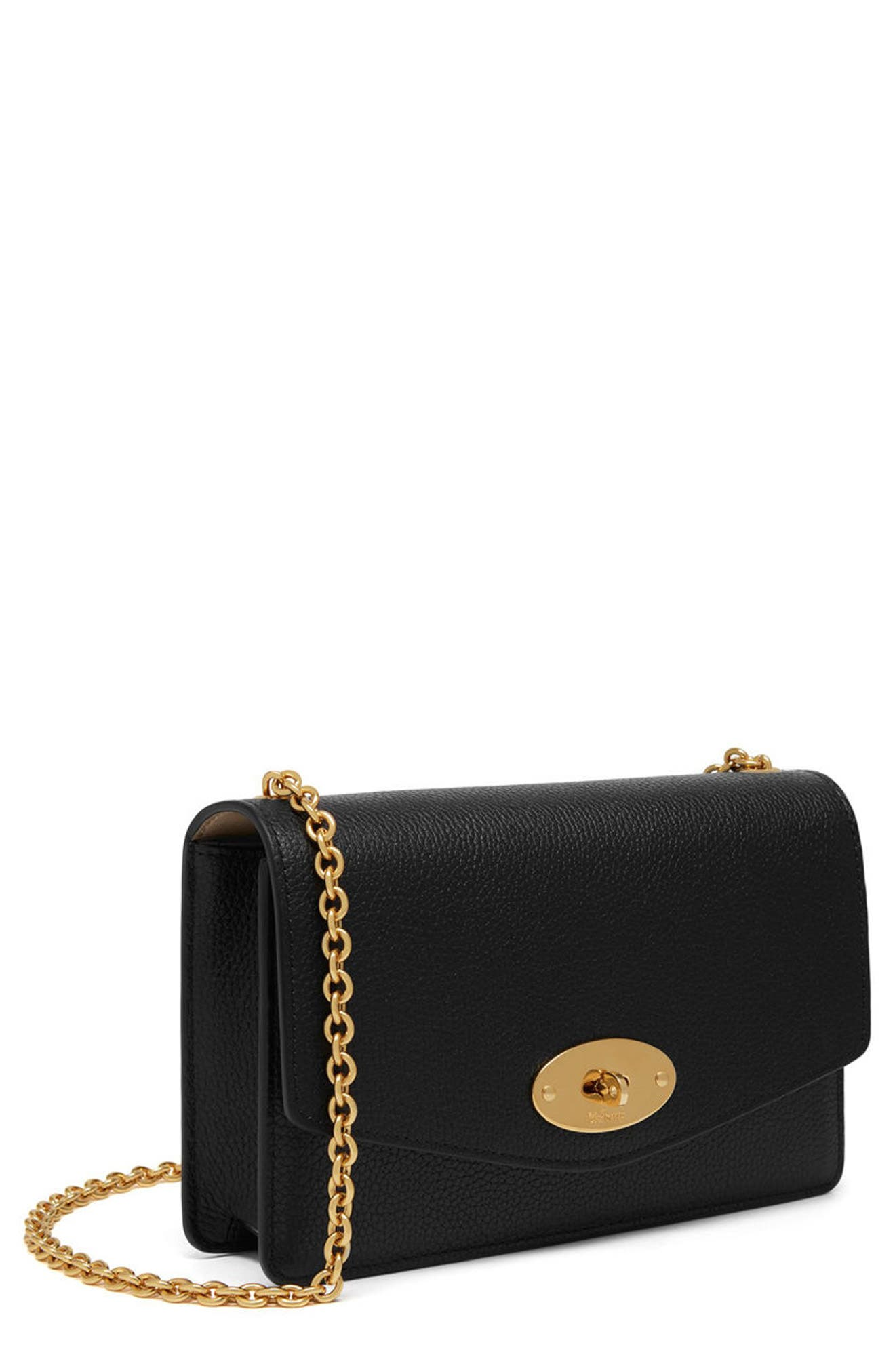 Small Darley Leather Clutch,                             Alternate thumbnail 3, color,                             Black