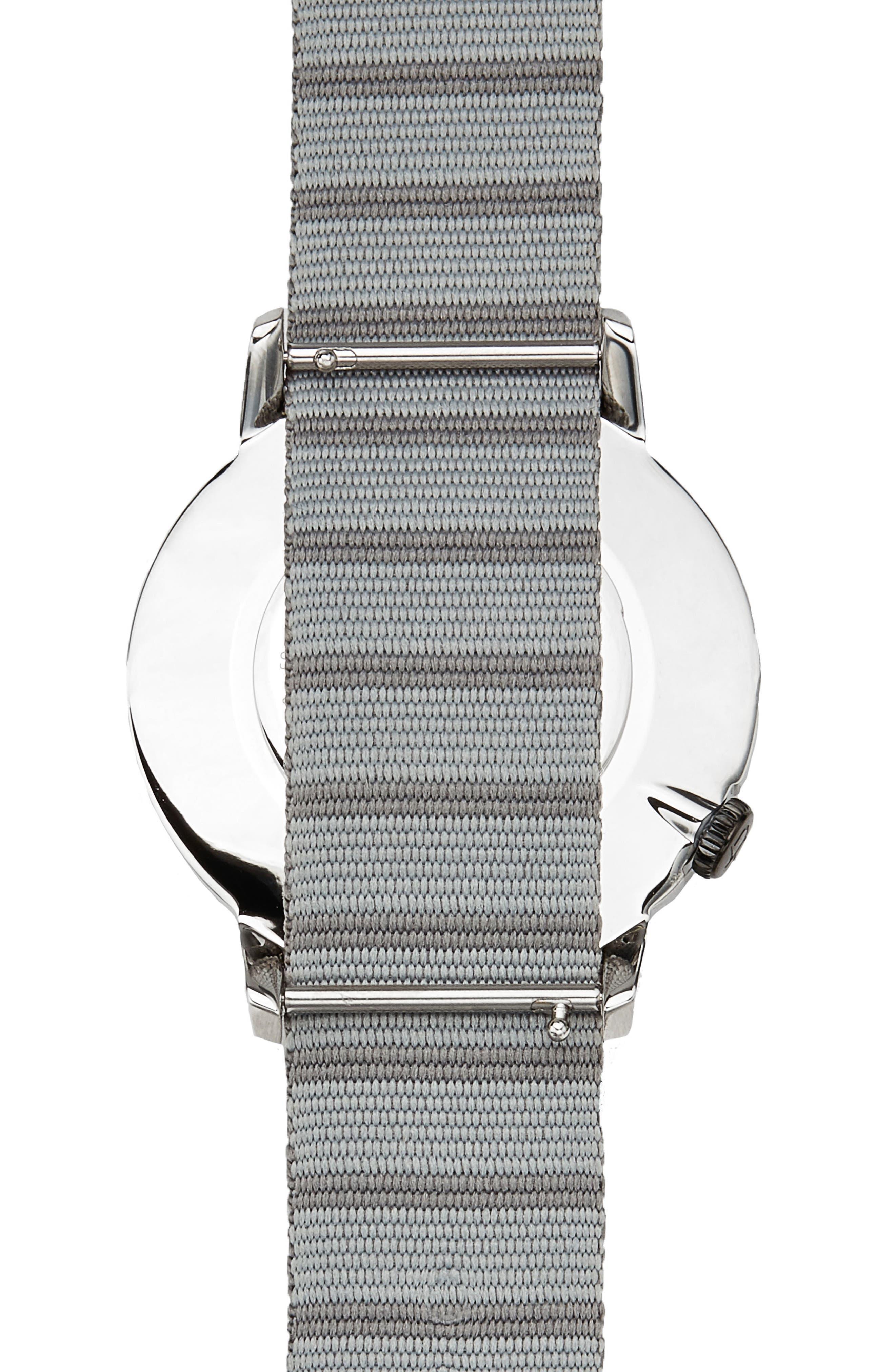 Davis Slim Nylon Strap Watch, 40mm,                             Alternate thumbnail 2, color,                             Grey/ Grey