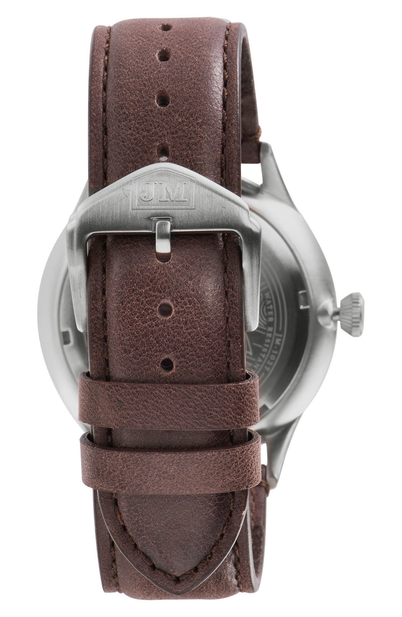 Alternate Image 2  - James McCabe New Belfast Slim Leather Strap Watch, 40mm