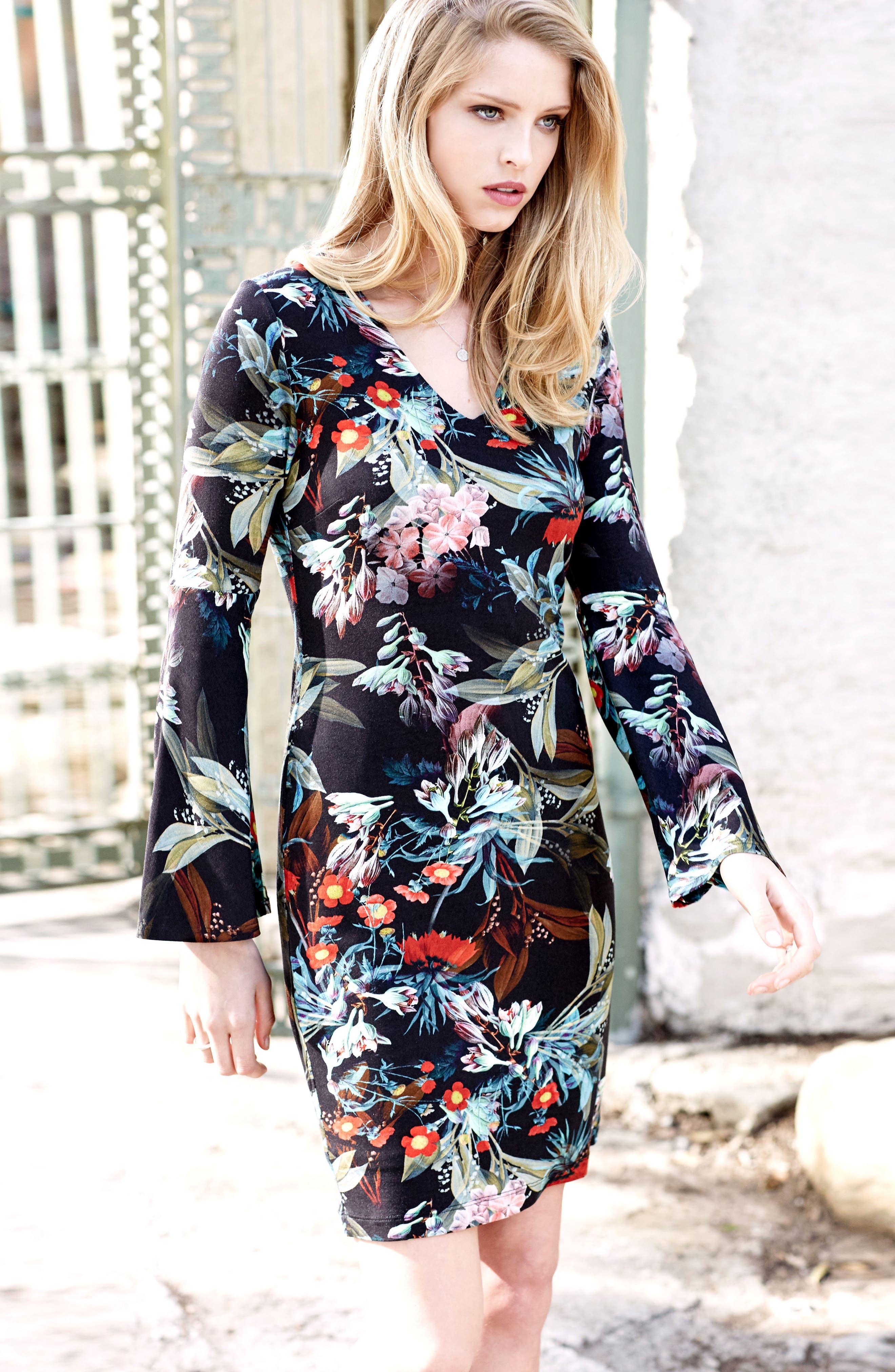 Alternate Image 2  - Karen Kane Bell Sleeve V-Neck Dress