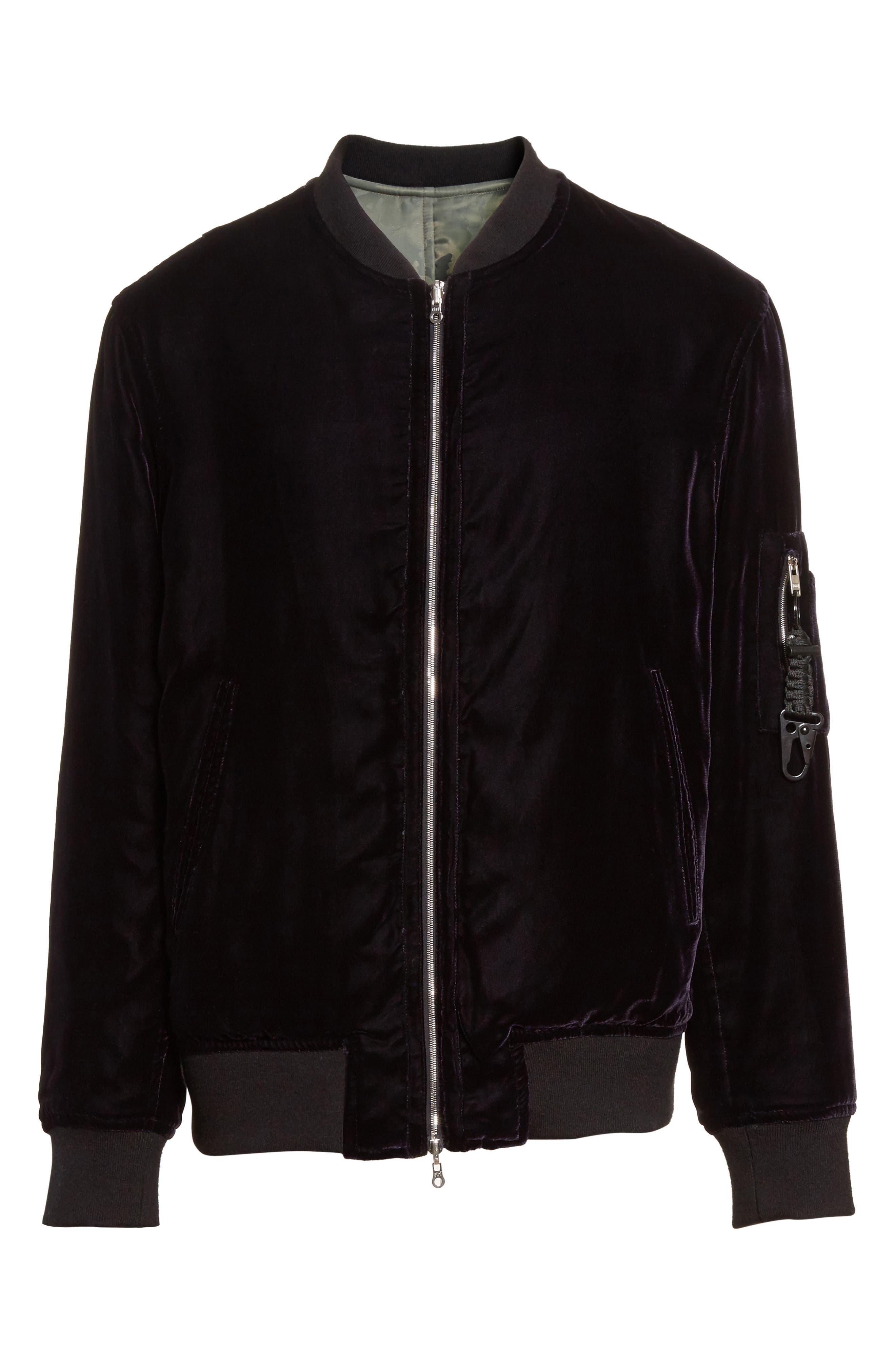 OS-1 Reversible Velvet Bomber Jacket,                             Alternate thumbnail 6, color,                             Black