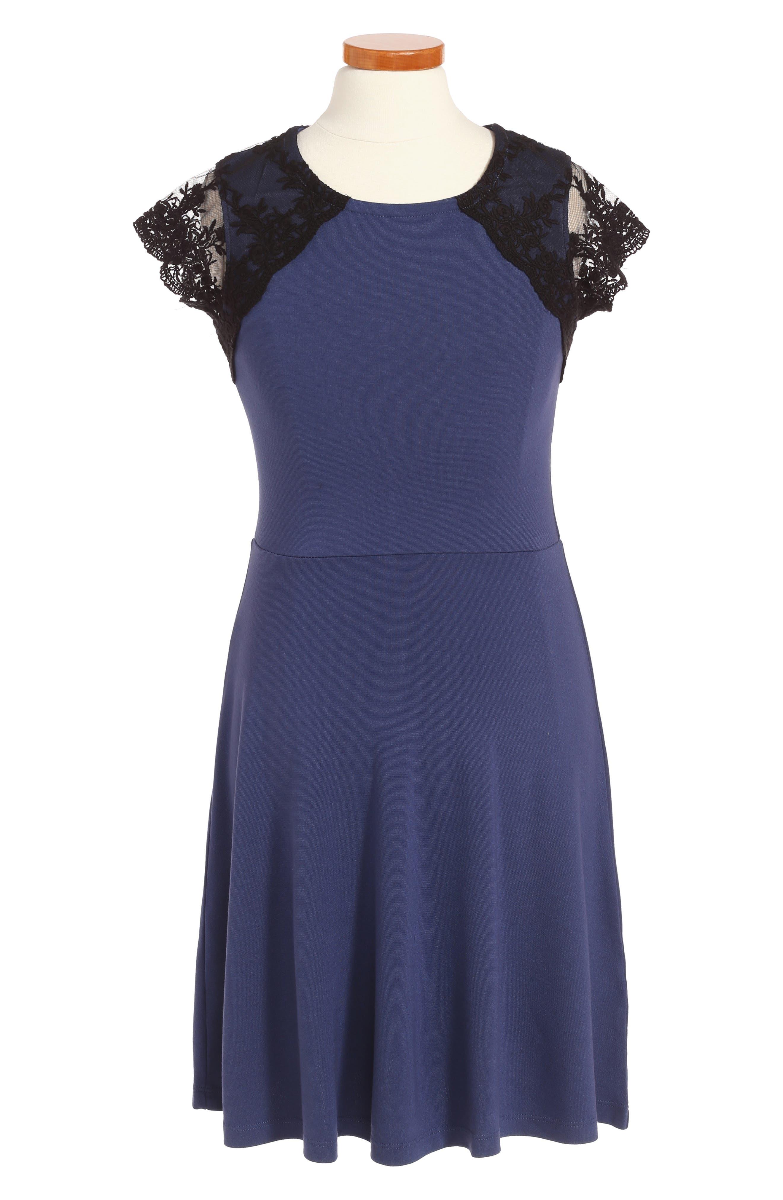 Ponte Skater Dress,                         Main,                         color, Blue Cobalt