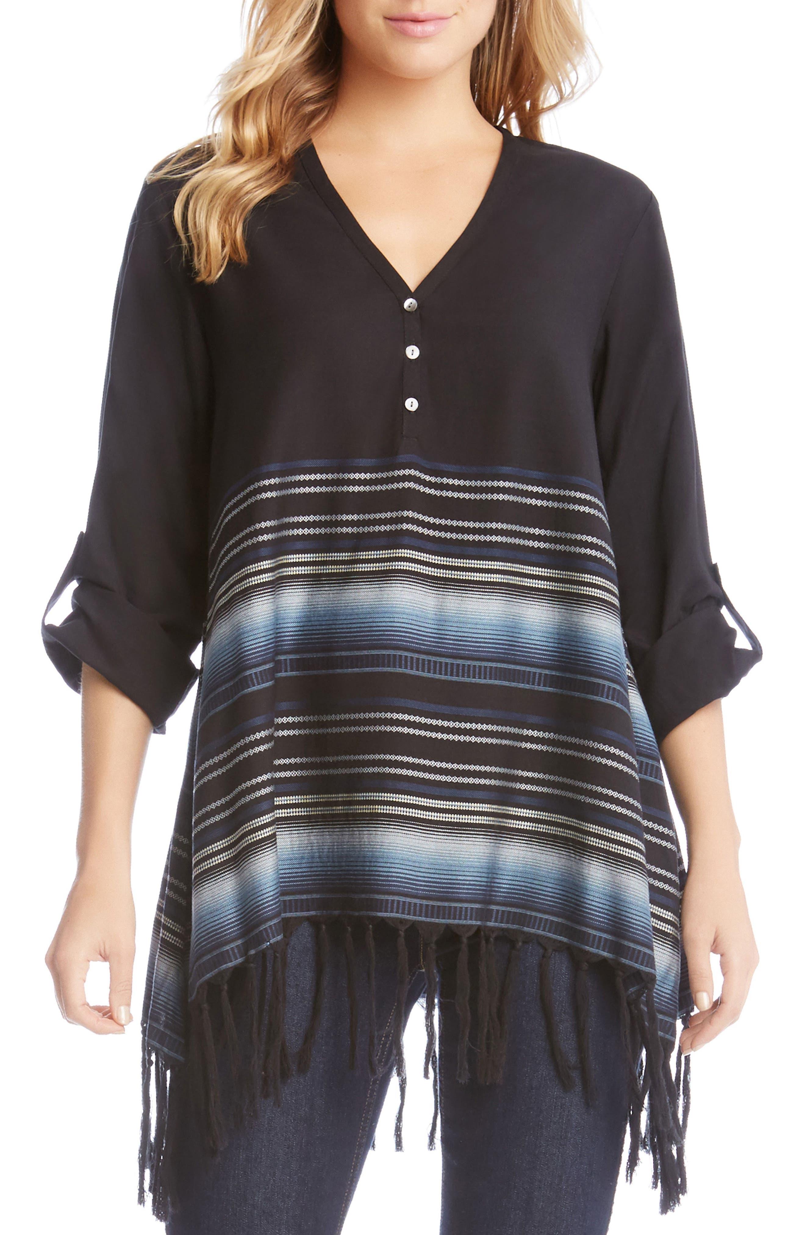 Border Stripe Fringe Top,                         Main,                         color, Black