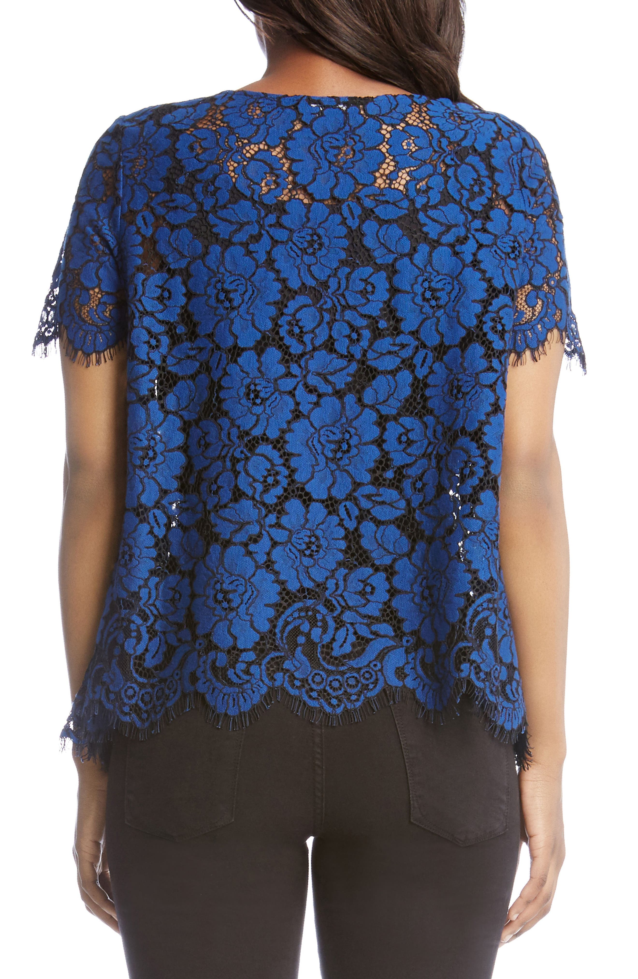 Flare Sleeve Lace Top,                             Alternate thumbnail 2, color,                             Sapphire Blue