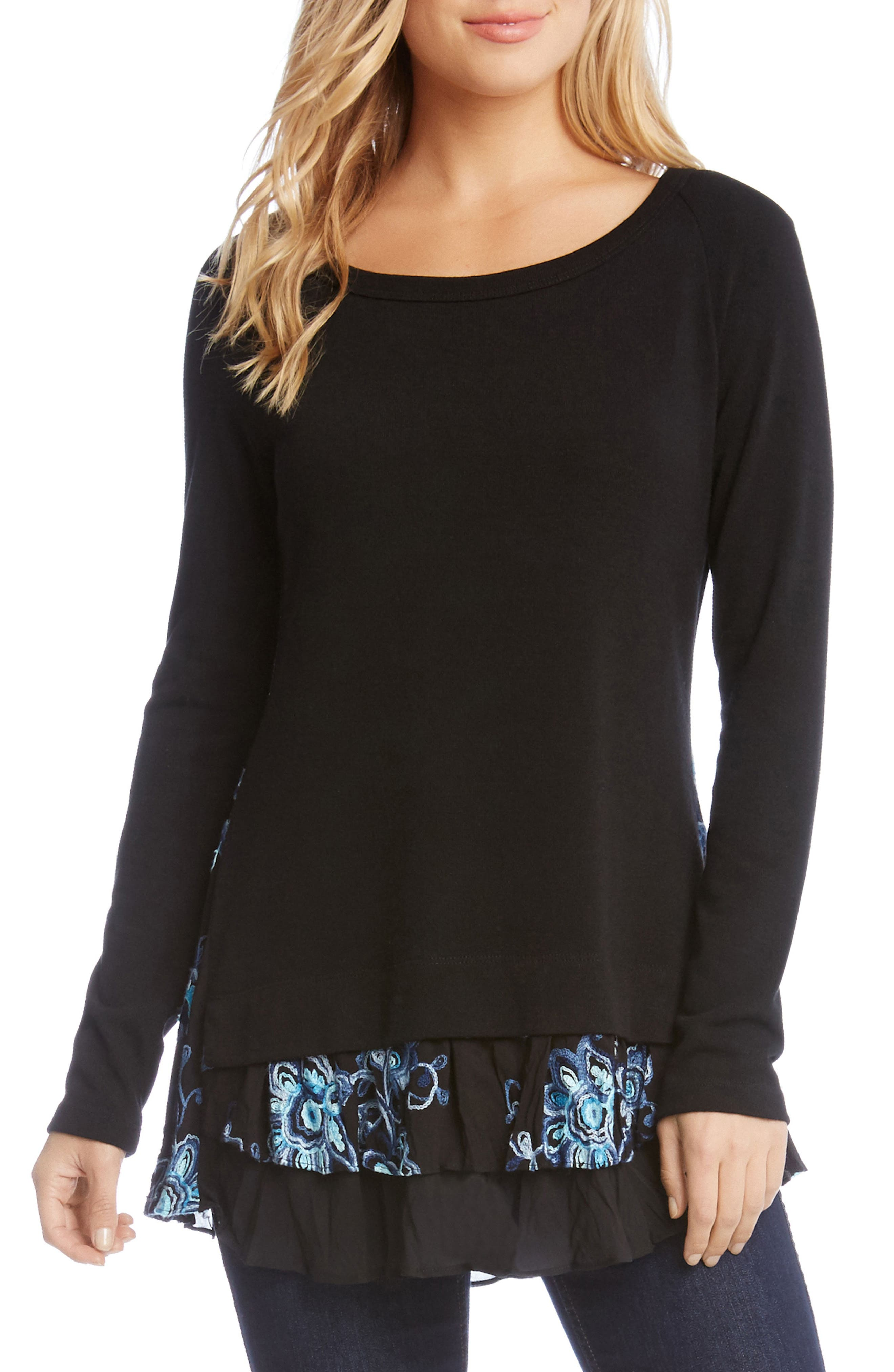 Flower Embroidery Layered Hem Top,                         Main,                         color, Black