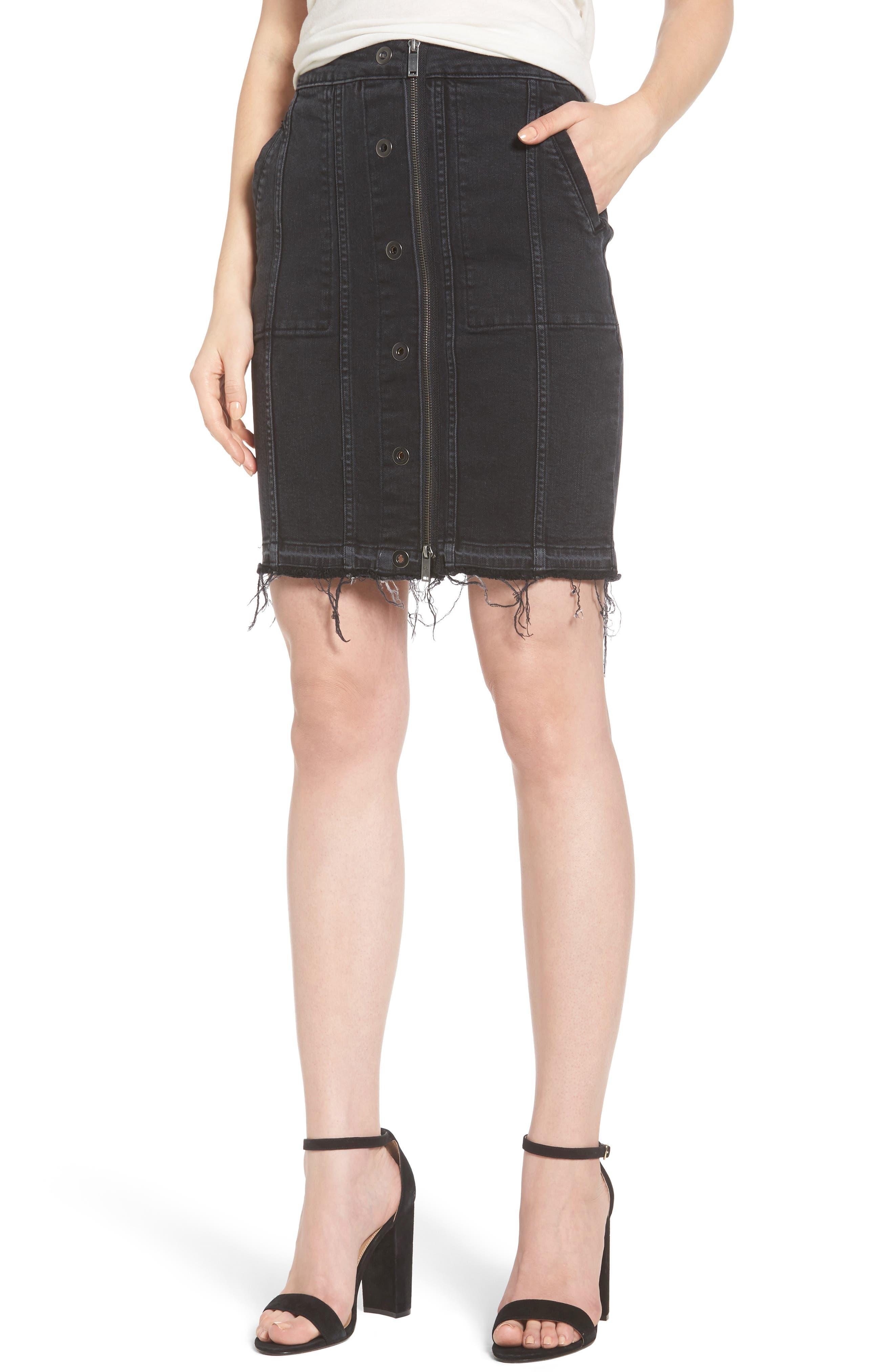 Poppy Denim Miniskirt,                         Main,                         color, Quinn