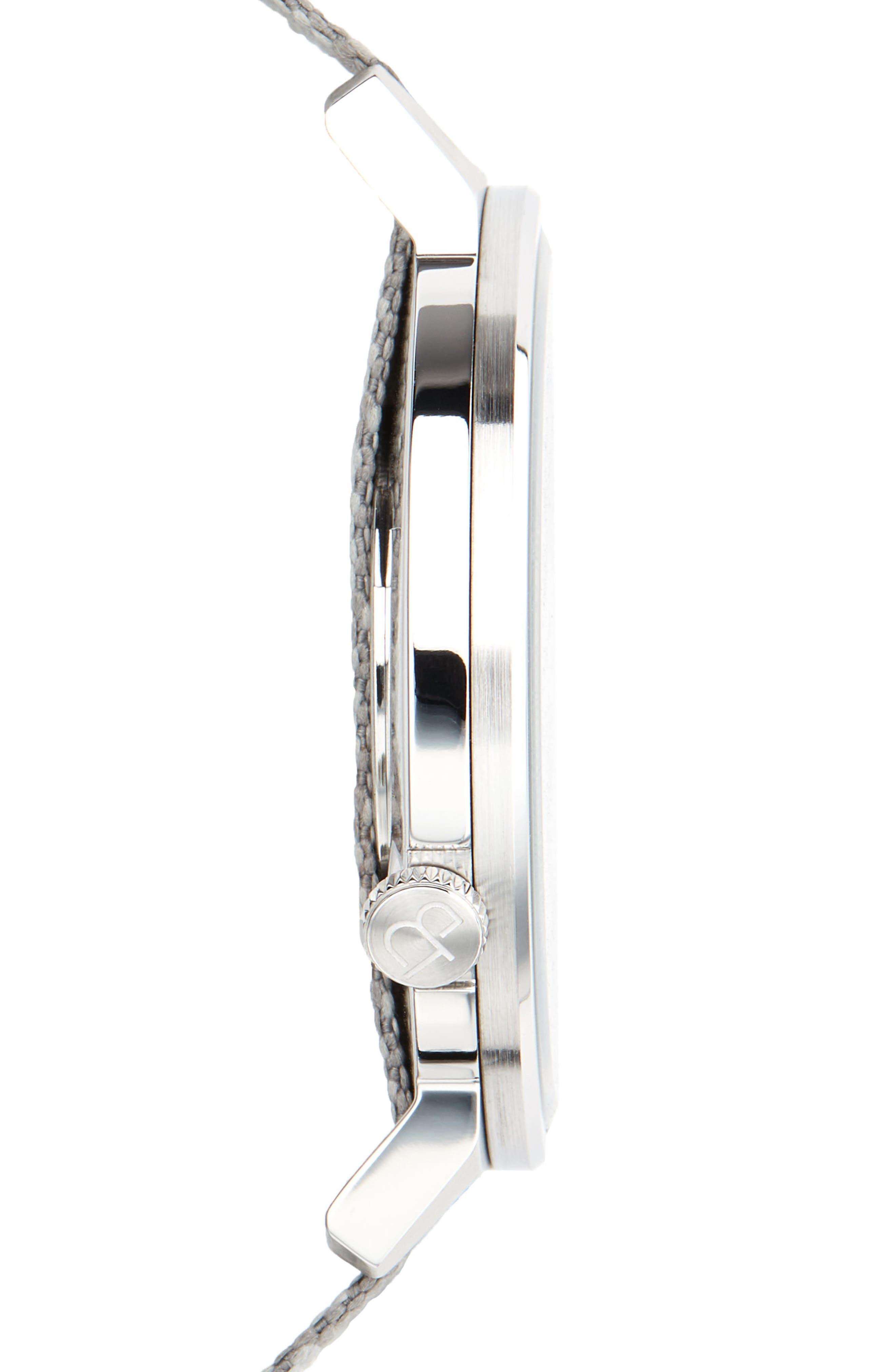 Alternate Image 3  - Canton and Hall Davis Slim Nylon Strap Watch, 44mm