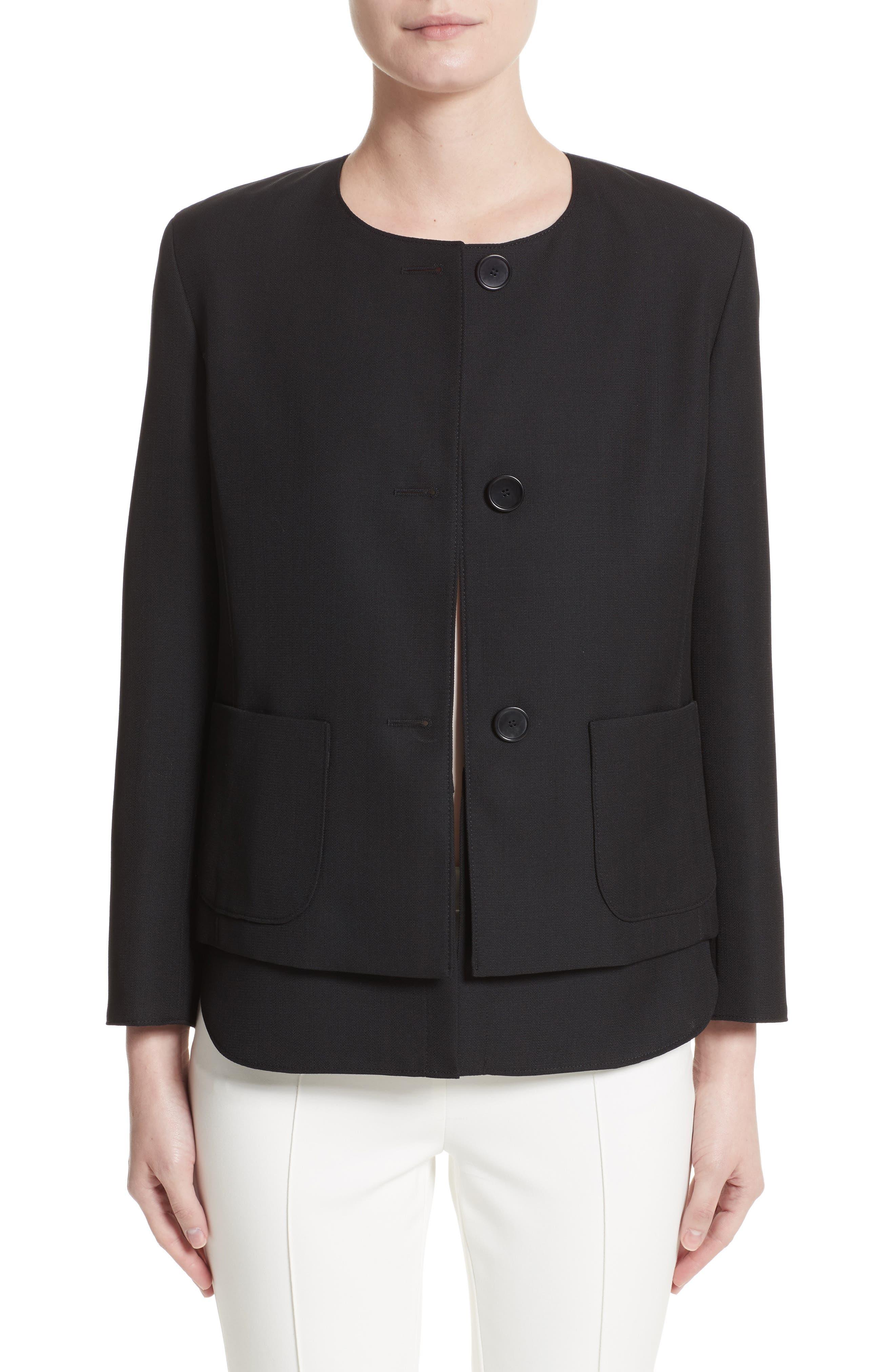 Wool Jacket with Detachable Hem,                         Main,                         color, Black