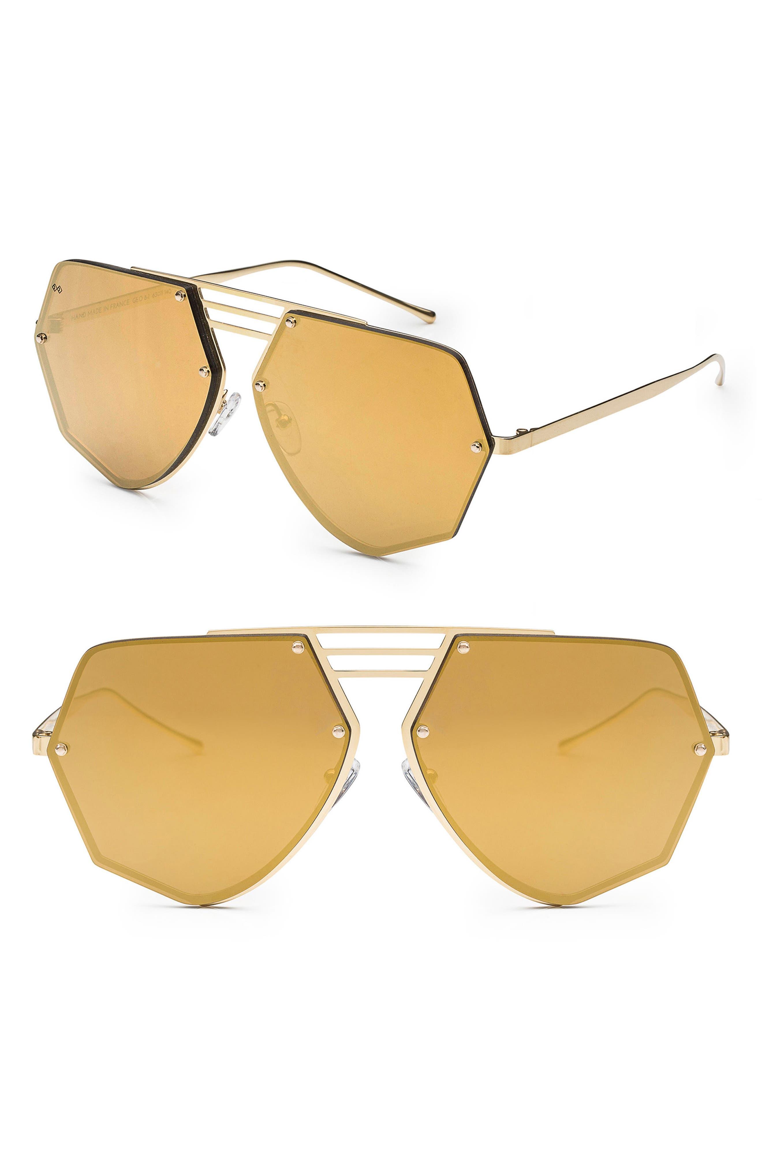Geo 8 60mm Sunglasses,                             Main thumbnail 1, color,                             Gold/ Gold Mirror