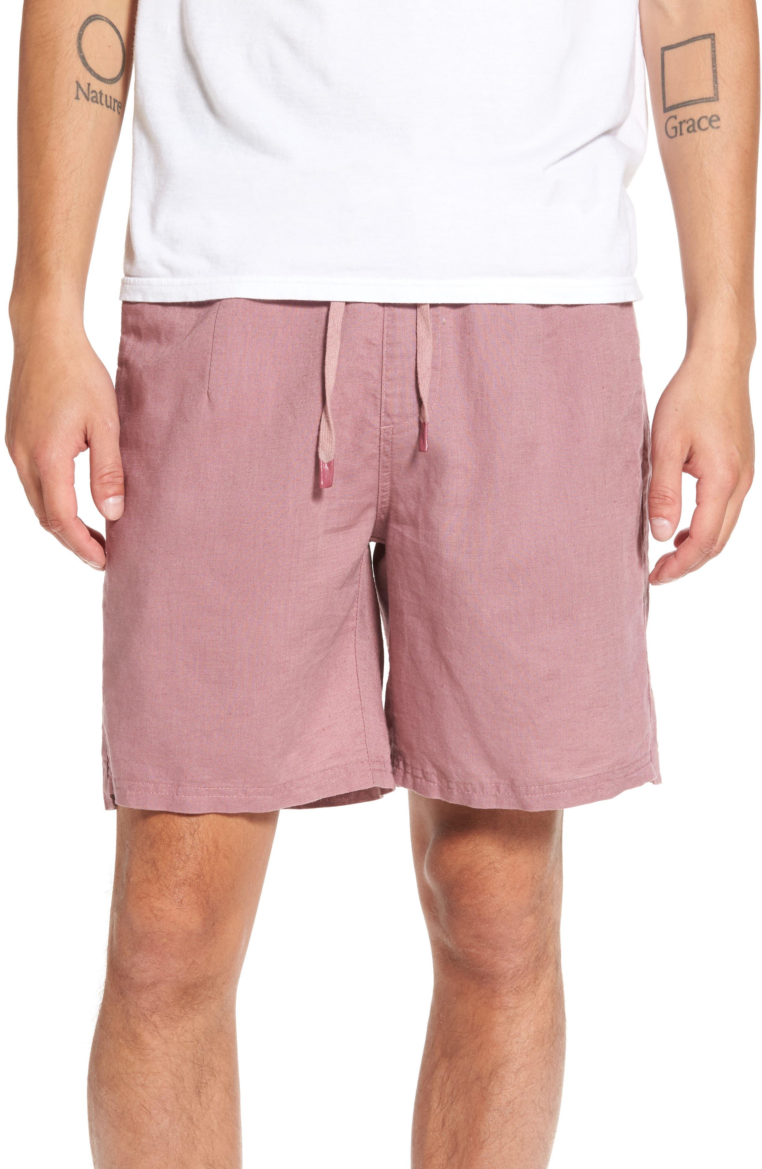 Omni Linen Blend Shorts,                         Main,                         color, Mauve