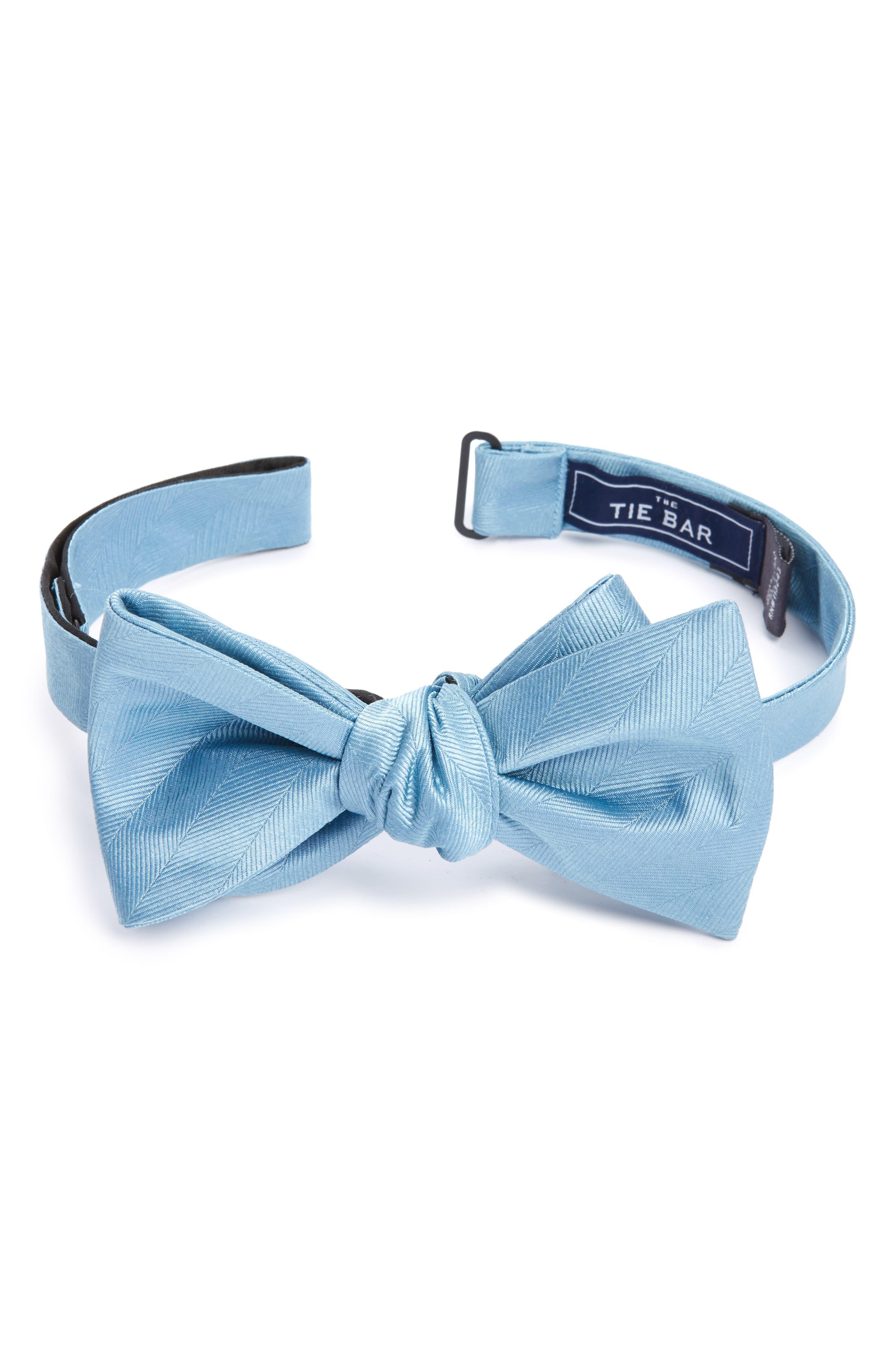 Herringbone Silk Bow Tie,                         Main,                         color, Steel Blue