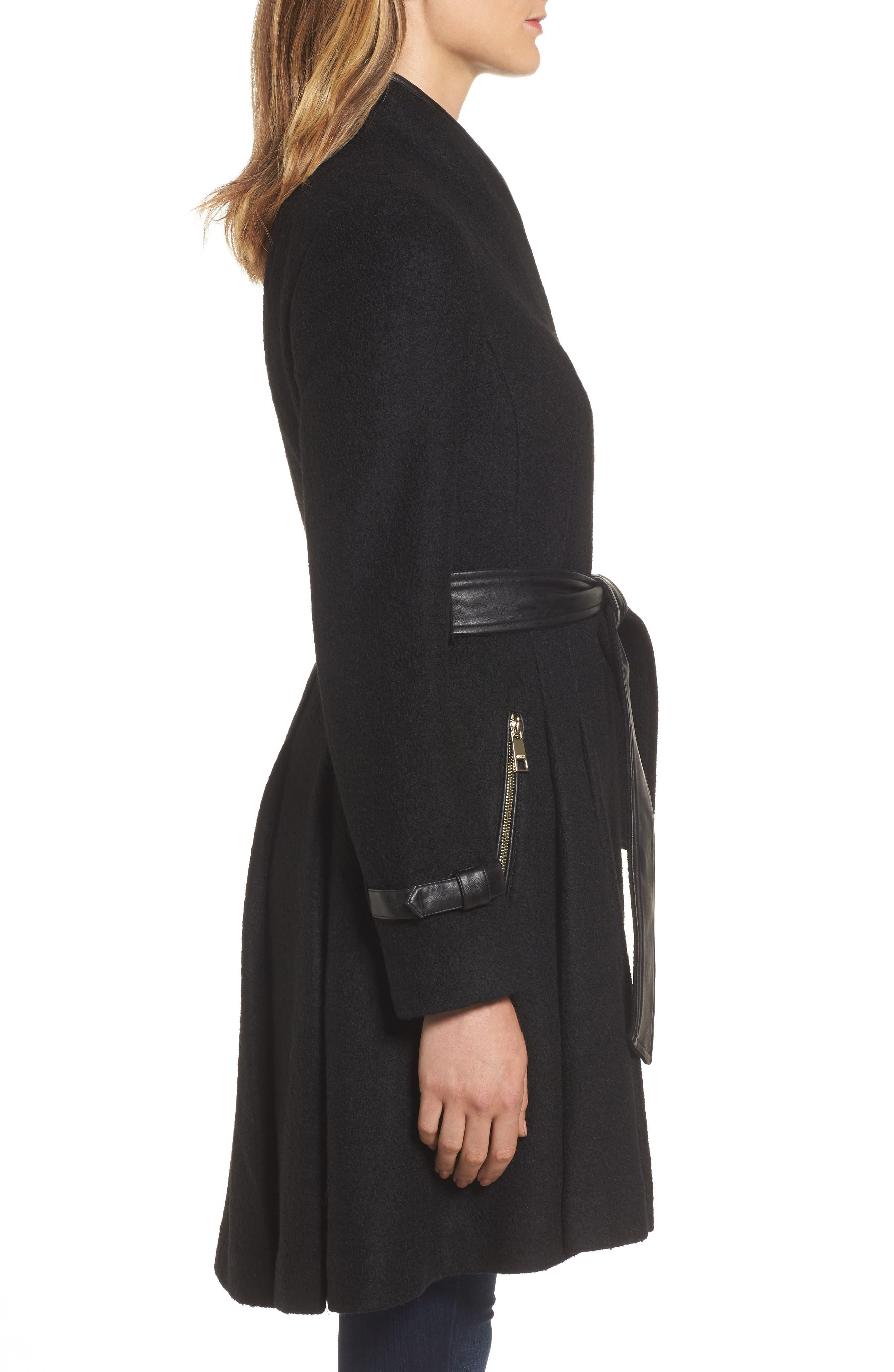 Belted Boiled Wool Blend Coat,                             Alternate thumbnail 3, color,                             Black