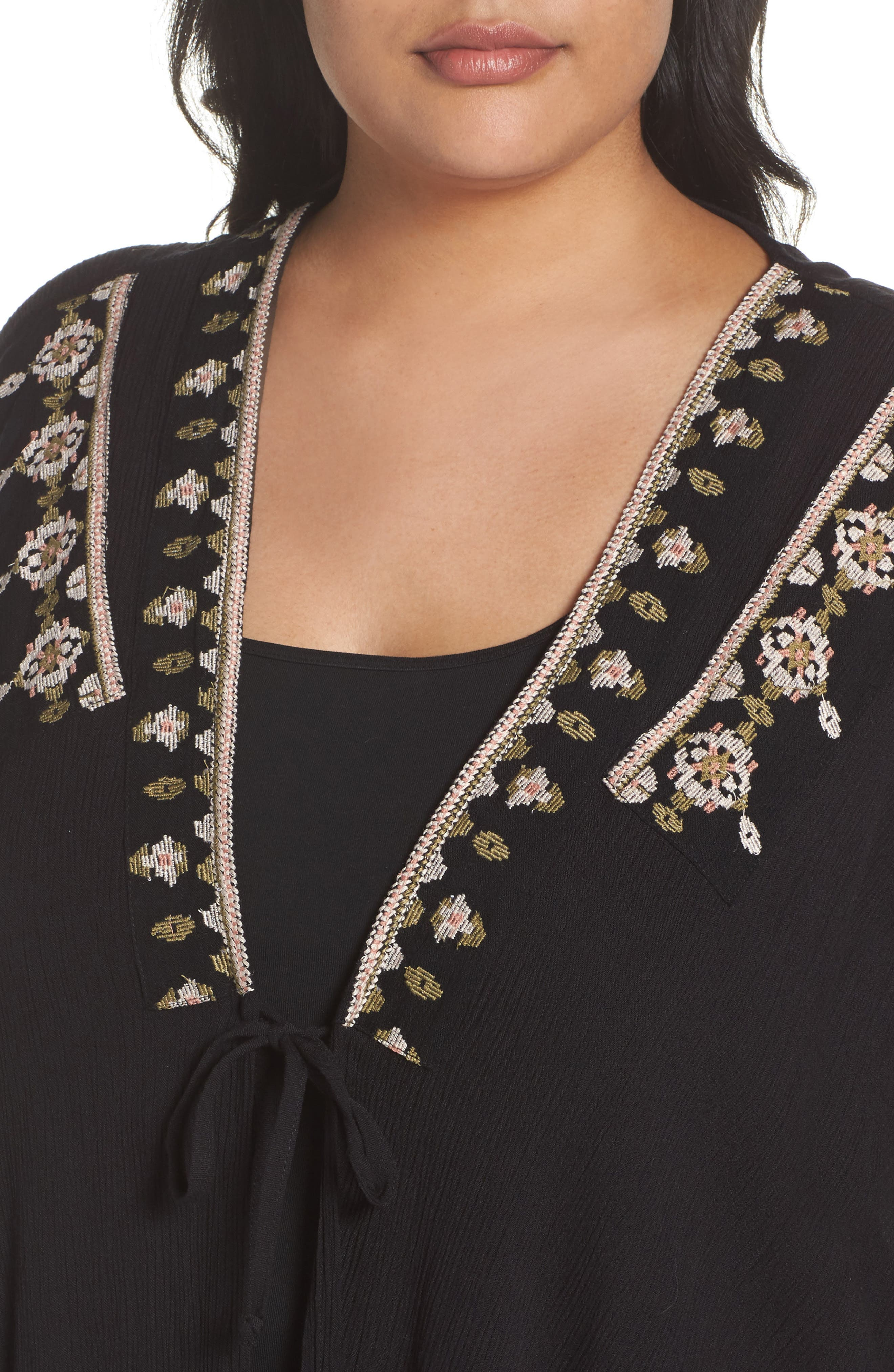Embroidered Wrap,                             Alternate thumbnail 4, color,                             Black