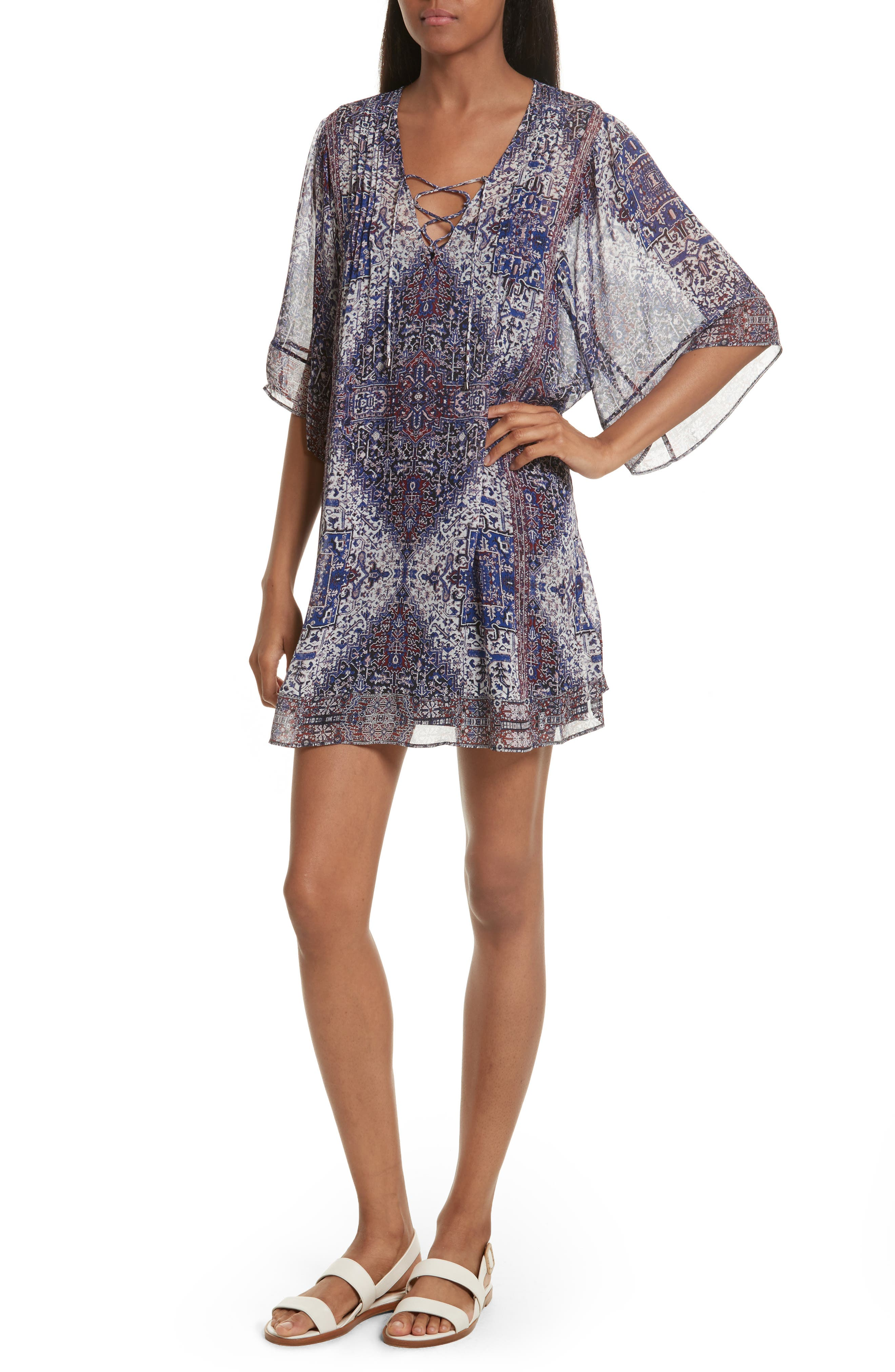 Hadiya Print Silk Dress,                         Main,                         color, Caviar
